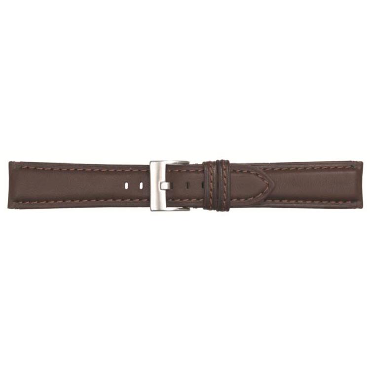 Poletto horlogeband leder donker bruin 22mm 540
