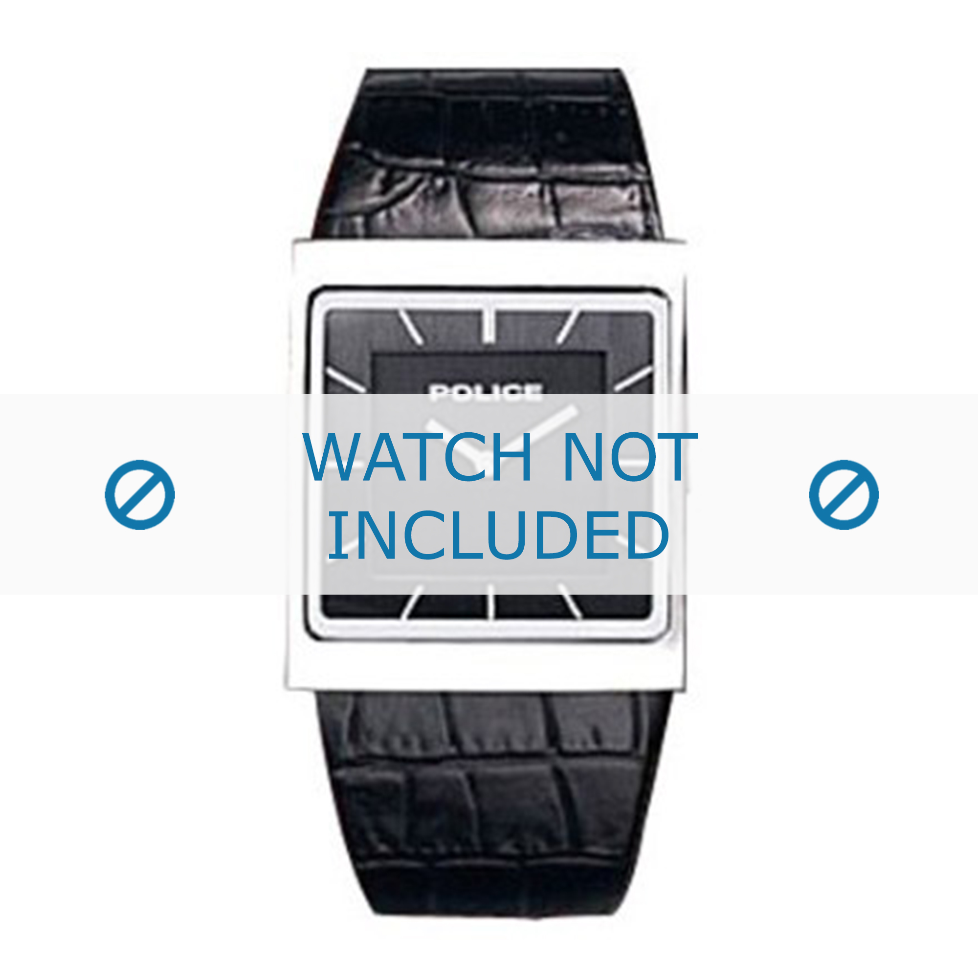 Police horlogeband 10583M - 10583M-02 Leder Zwart 28mm