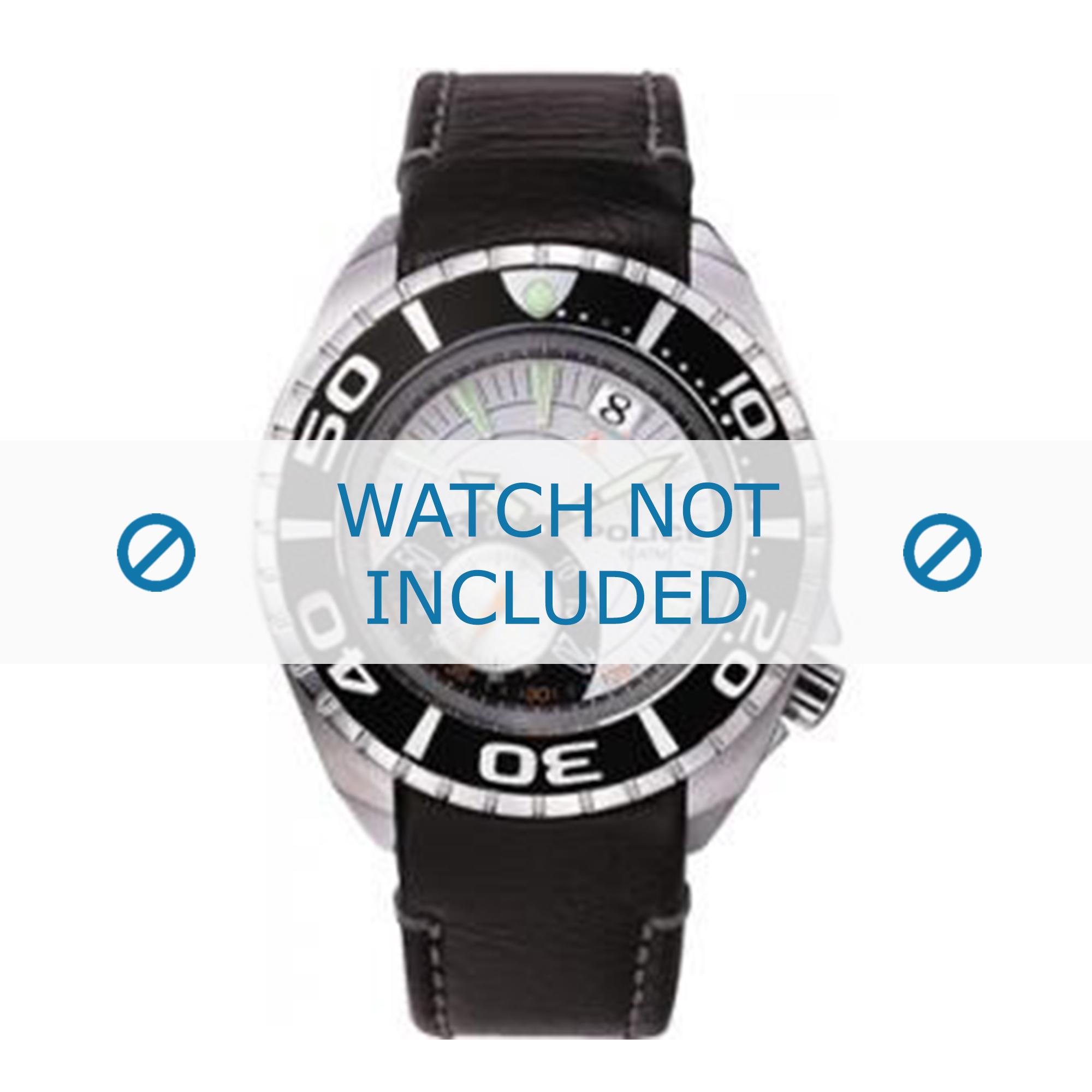 Police horlogeband 11182JS-04 Leder Zwart + zwart stiksel