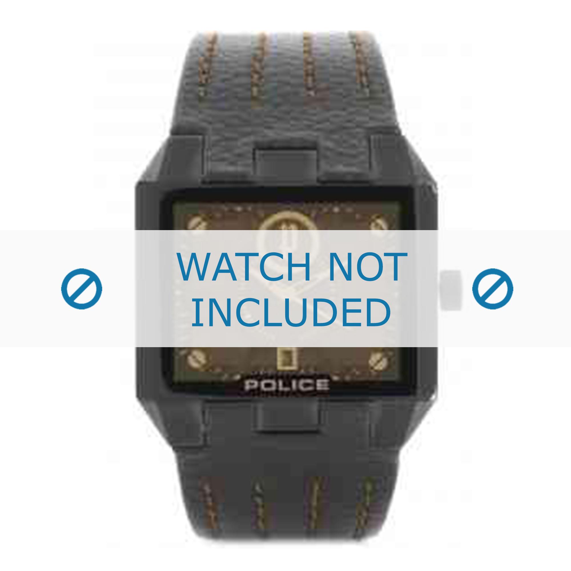 Police horlogeband 12551JSB-61 Leder Donkerbruin + bruin stiksel