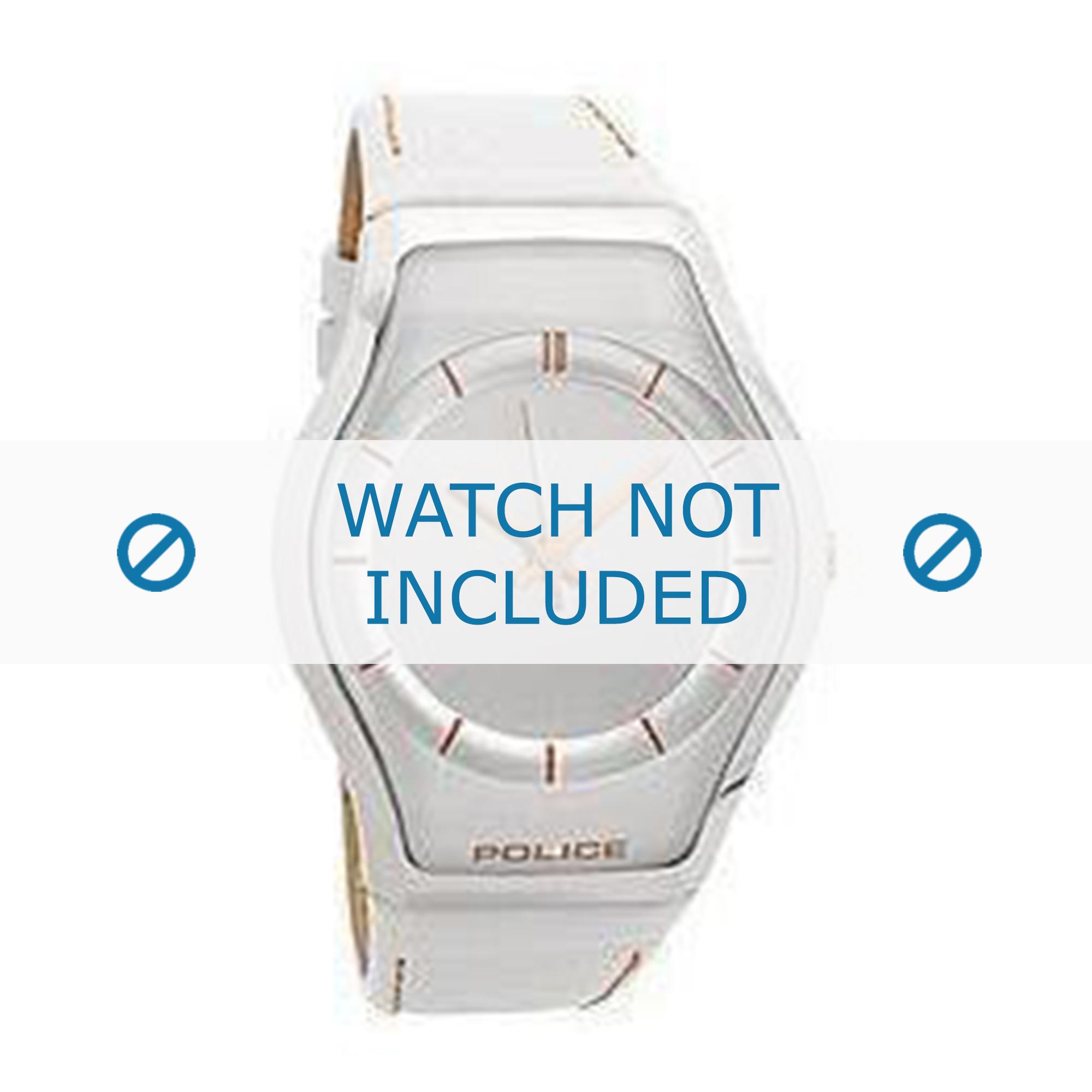 Police horlogeband 12778MS-04 Leder Wit + bruin stiksel