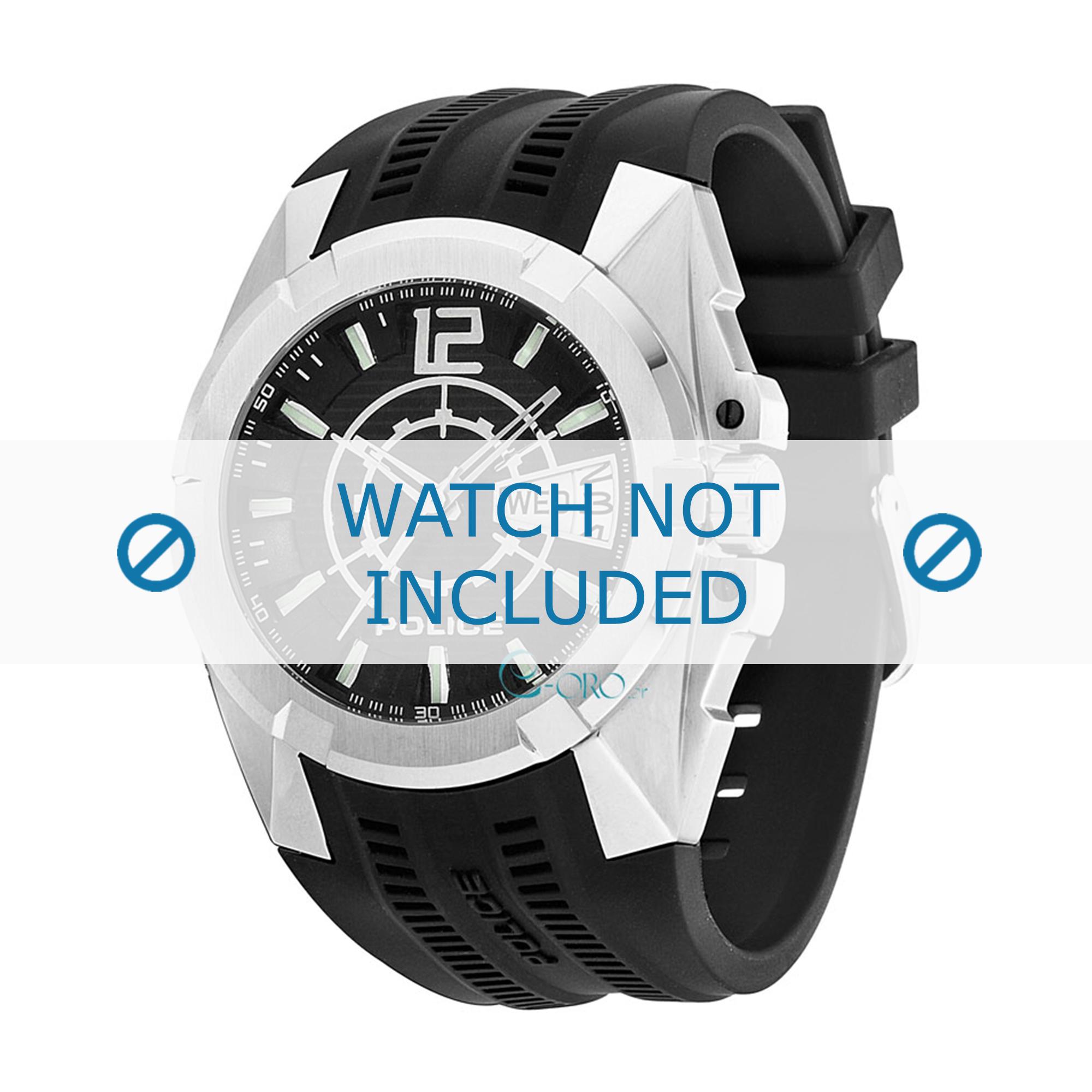 Police horlogeband 13421JS-02 Rubber Zwart