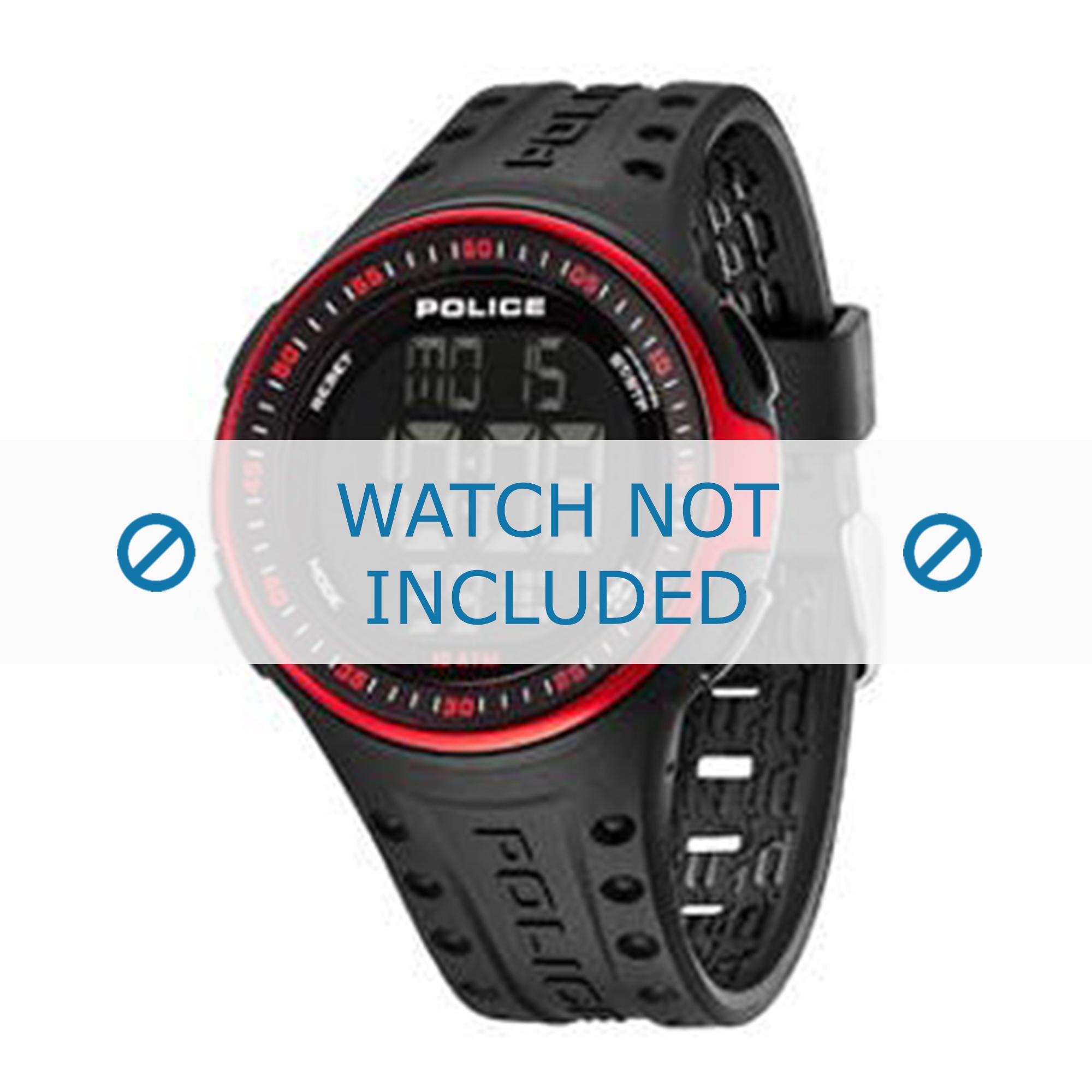 Police horlogeband 13904JPBRD-02 Rubber Zwart