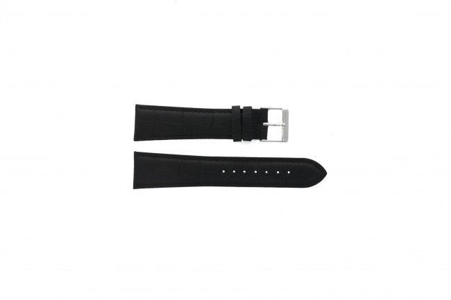 Leder horlogeband zwart 22mm PVK-469