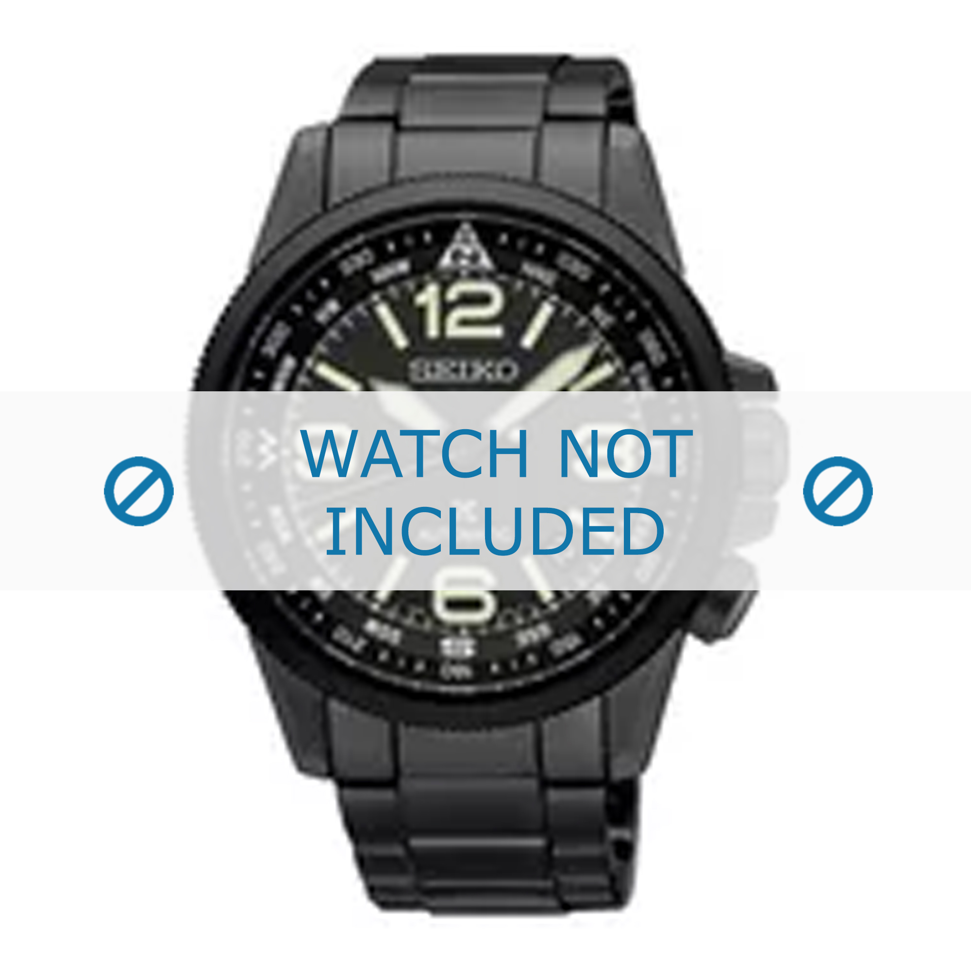 Seiko horlogeband 4R35-01N0-SRPA73K1 Staal Zwart 21mm