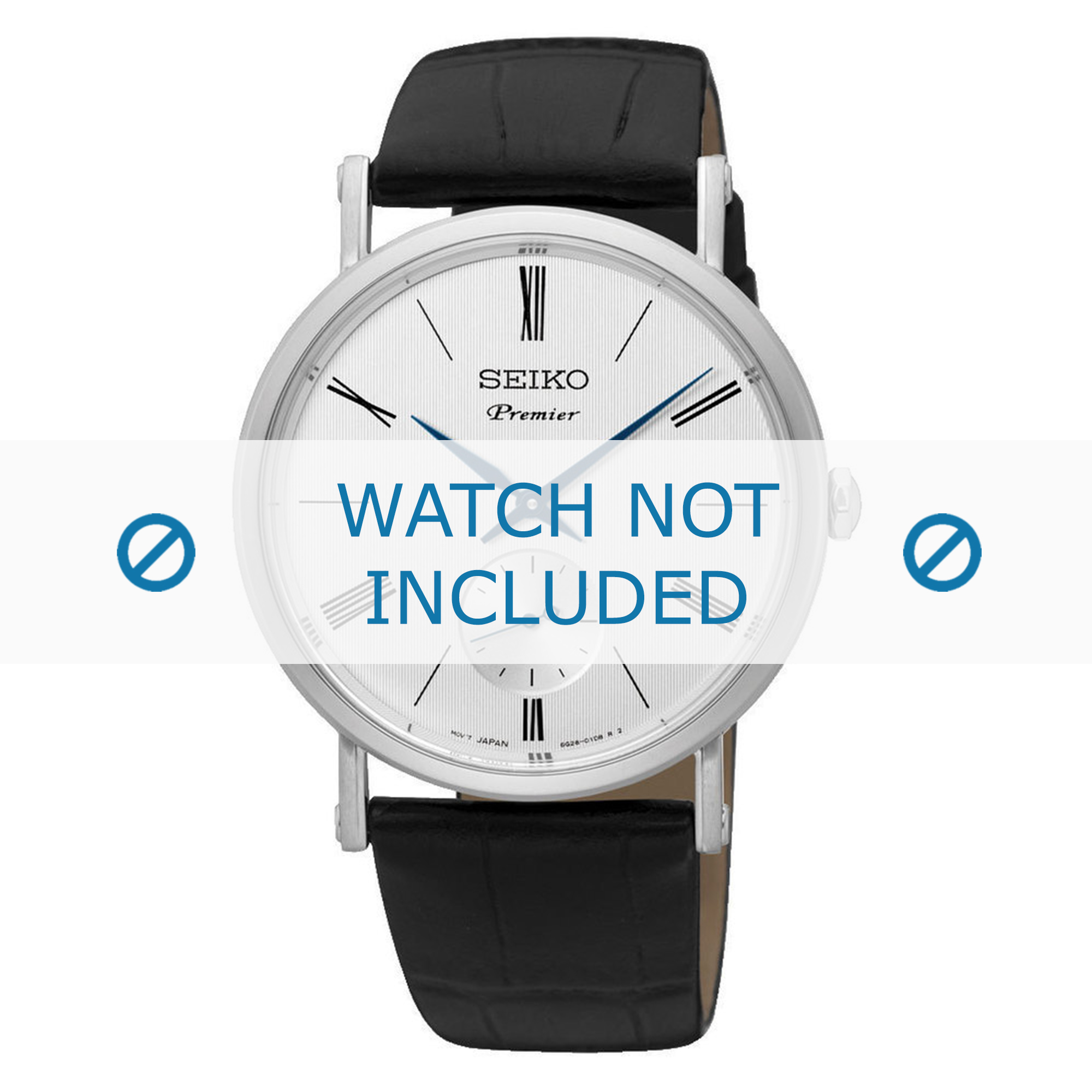 Seiko horlogeband 6G28-00X0-SRK035P1-SRK037P1 Leder Zwart 21mm