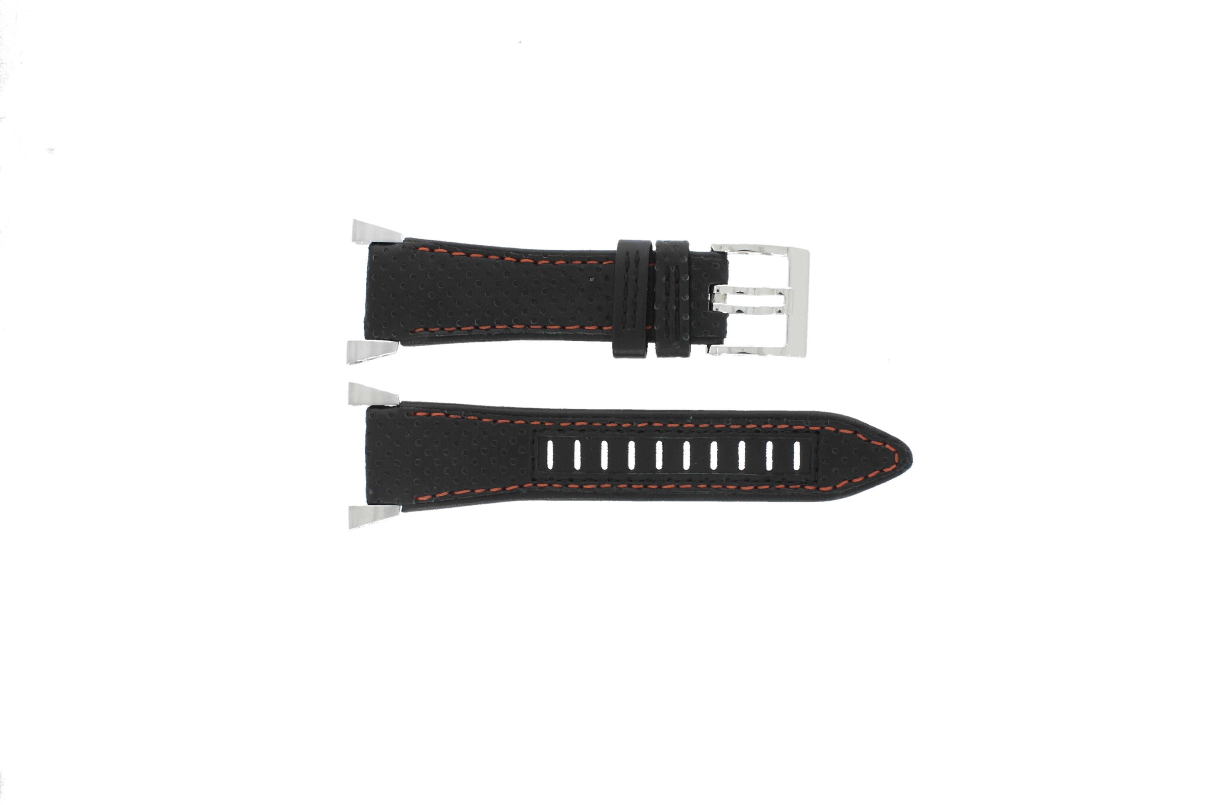 Seiko horlogeband 7L22-0AM0 Leder Zwart 22mm + oranje stiksel