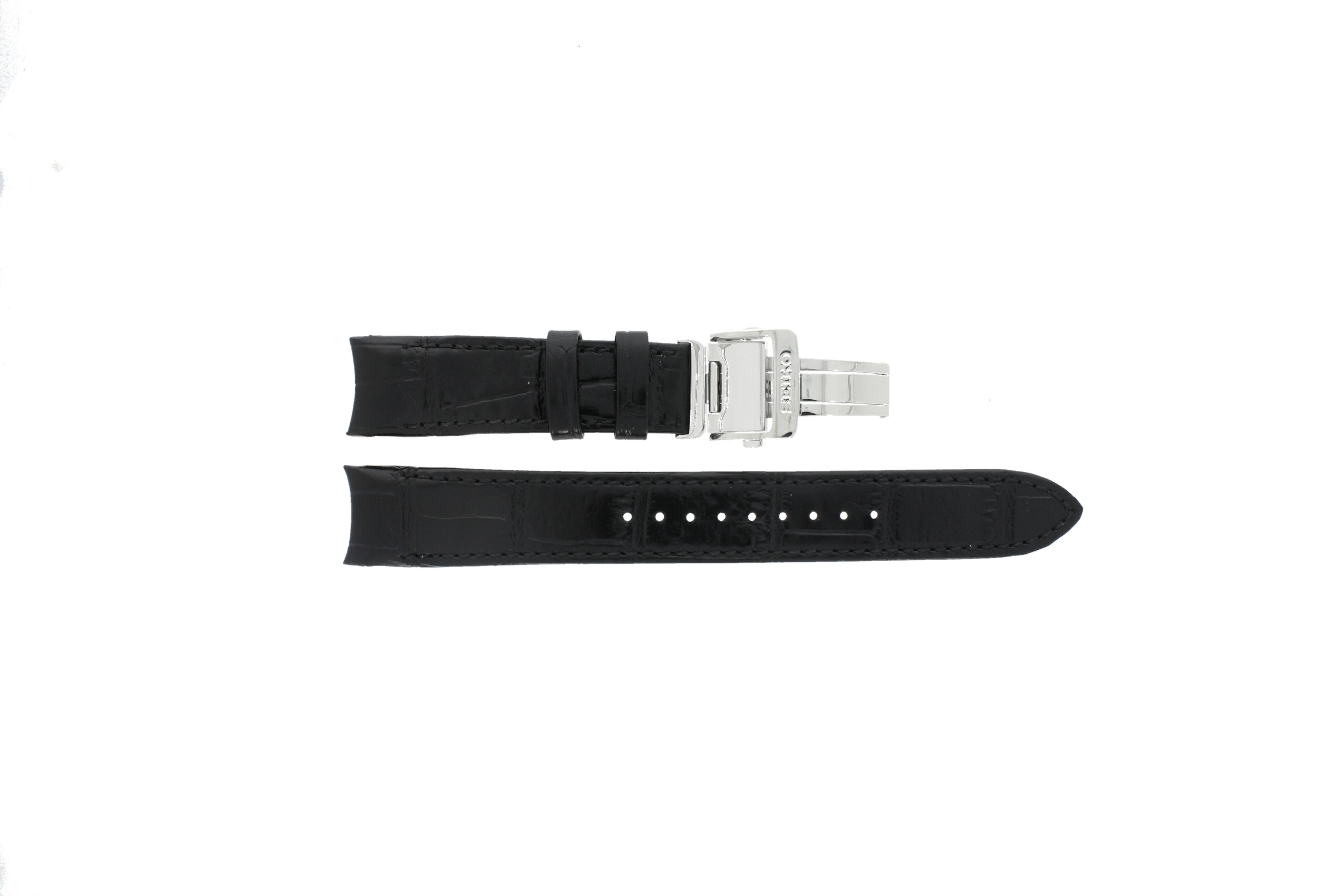 Seiko horlogeband 5D88-0AA0 SRX003P1 Leder Zwart 21mm