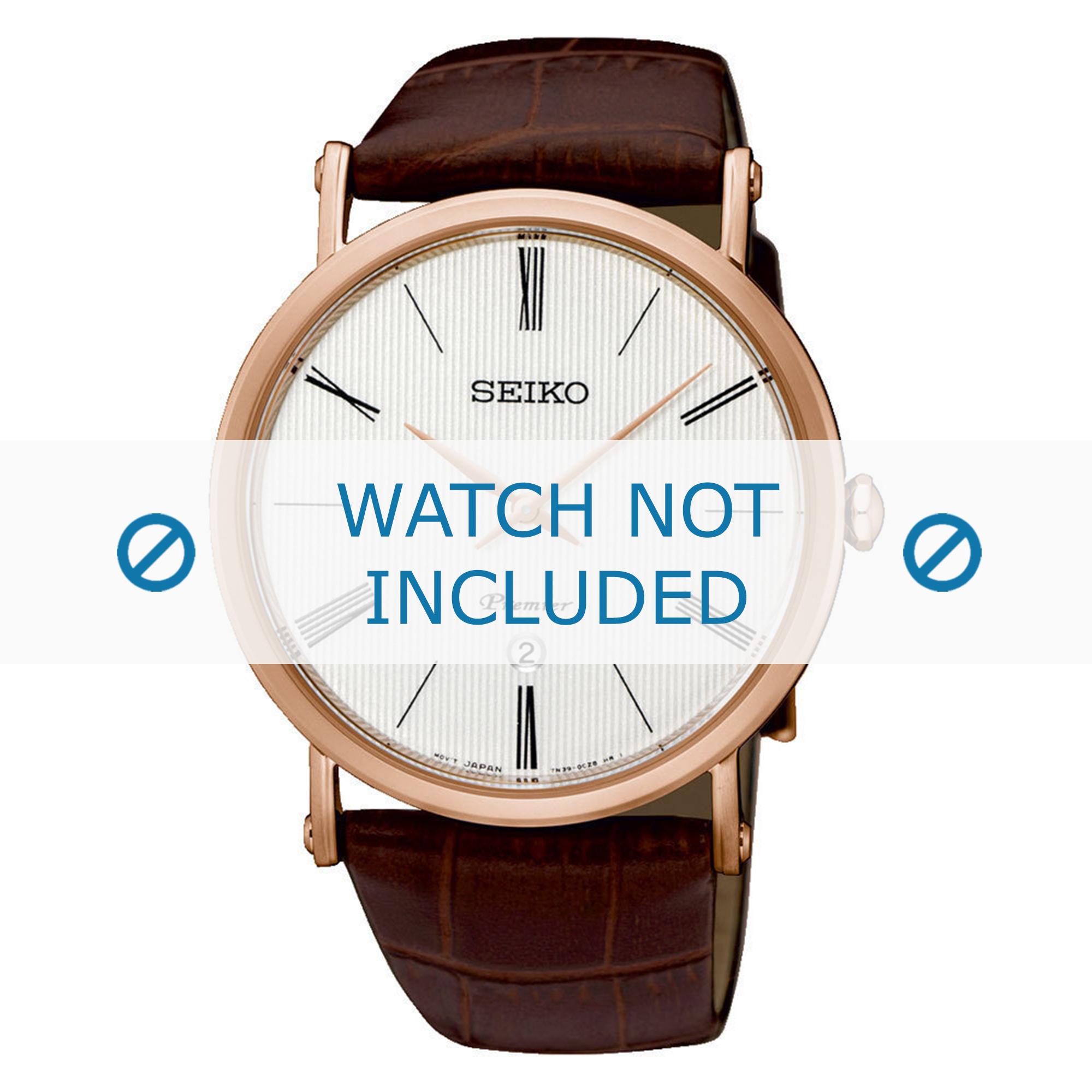 Seiko horlogeband 7N39-0CA0-SKP398P1 Croco leder Bruin 24mm
