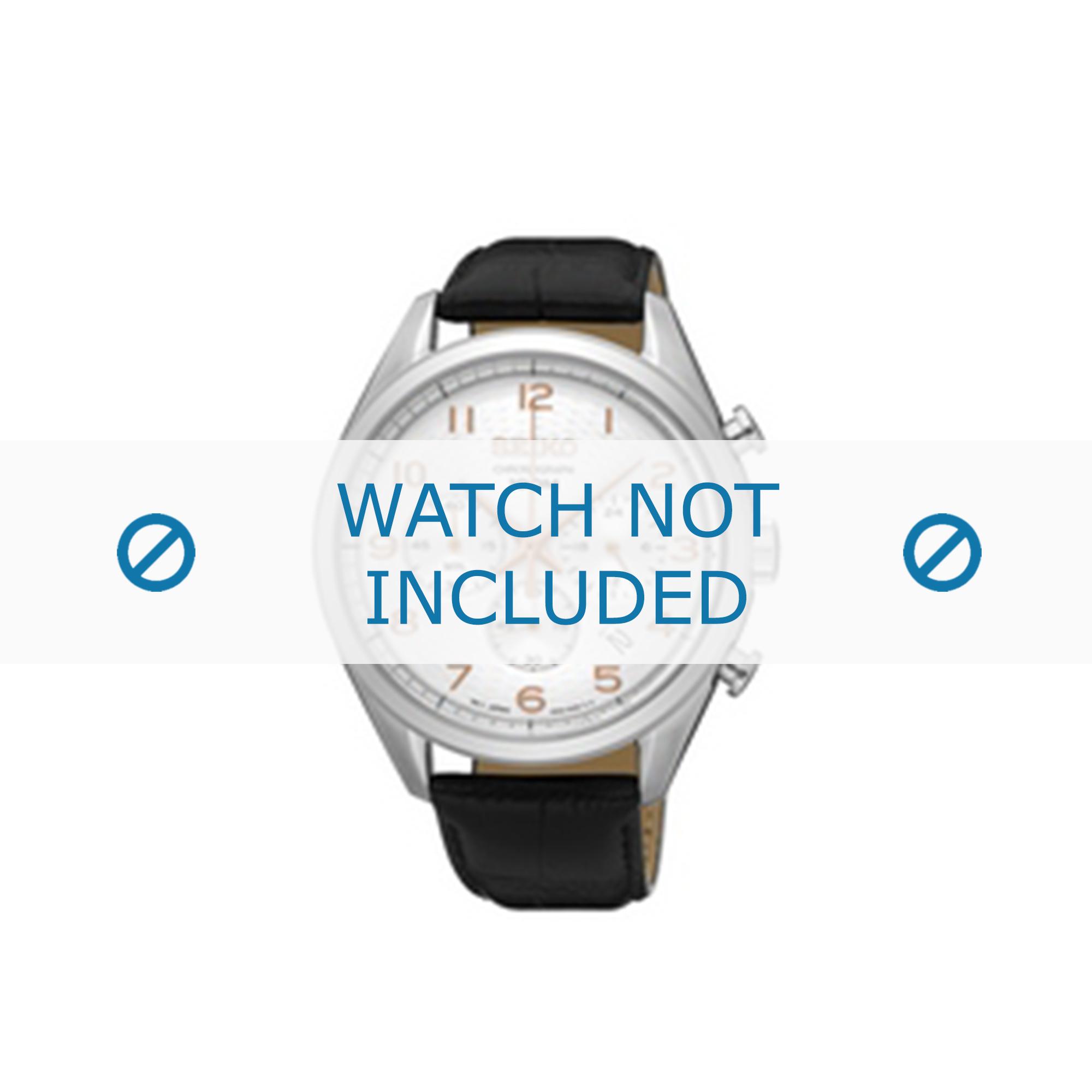 Seiko horlogeband SSB227P1 / 8T63 00C0 Leder Zwart 20mm + zwart stiksel