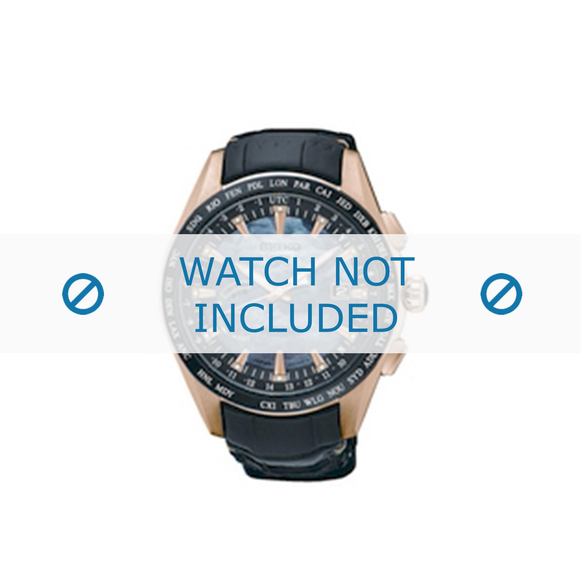 Seiko horlogeband SSE105J1 / 8X22 0AE0 Leder Zwart 22mm + standaard stiksel