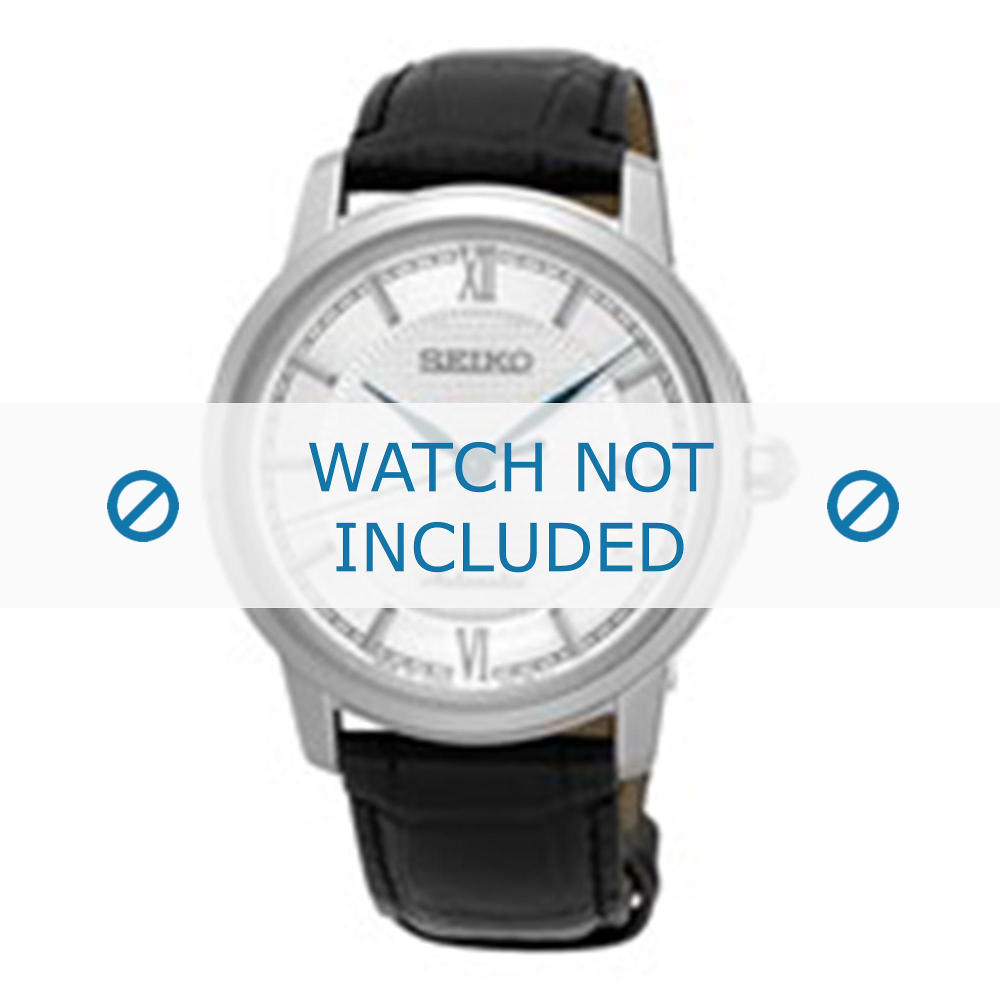 Seiko horlogeband SRPA13J1 / 4R35 01A0 Leder Zwart 20mm + zwart stiksel