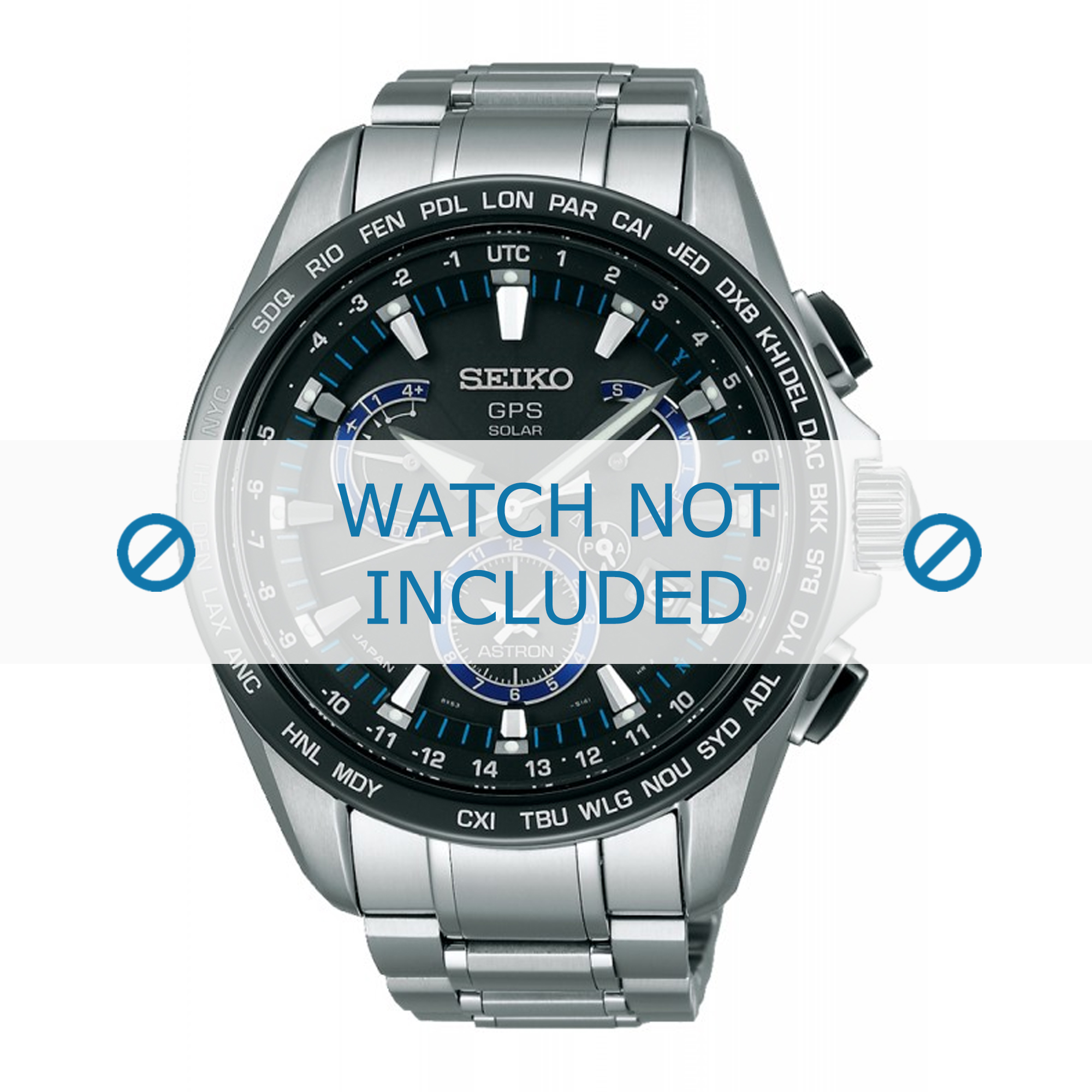 Seiko horlogeband SSE101J1 / 8X53 0AS0 Staal Zilver 22mm