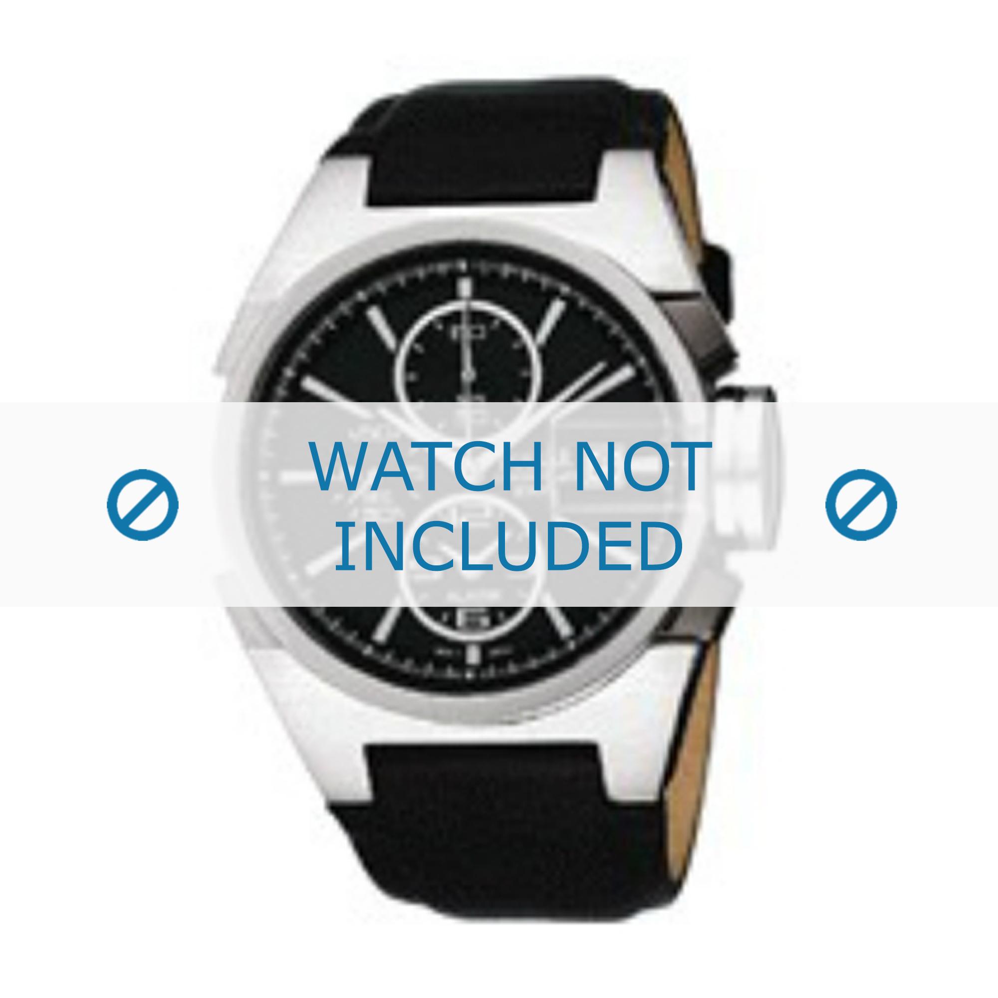 Seiko horlogeband YM62-X156 Leder Zwart 18mm + zwart stiksel