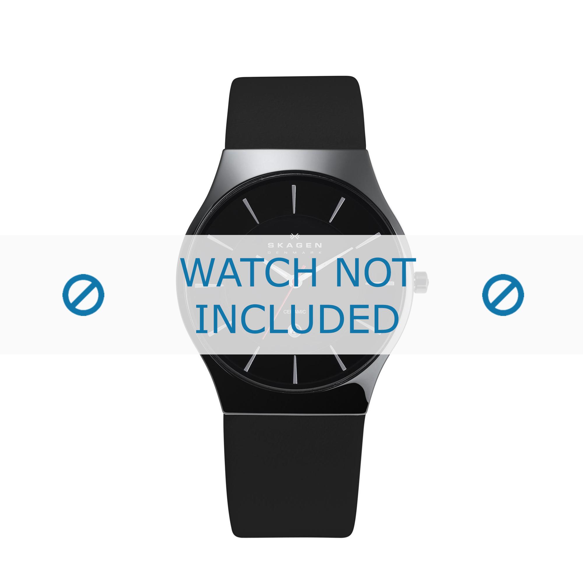 Skagen horlogeband 233XLCLB Leder Zwart 20mm