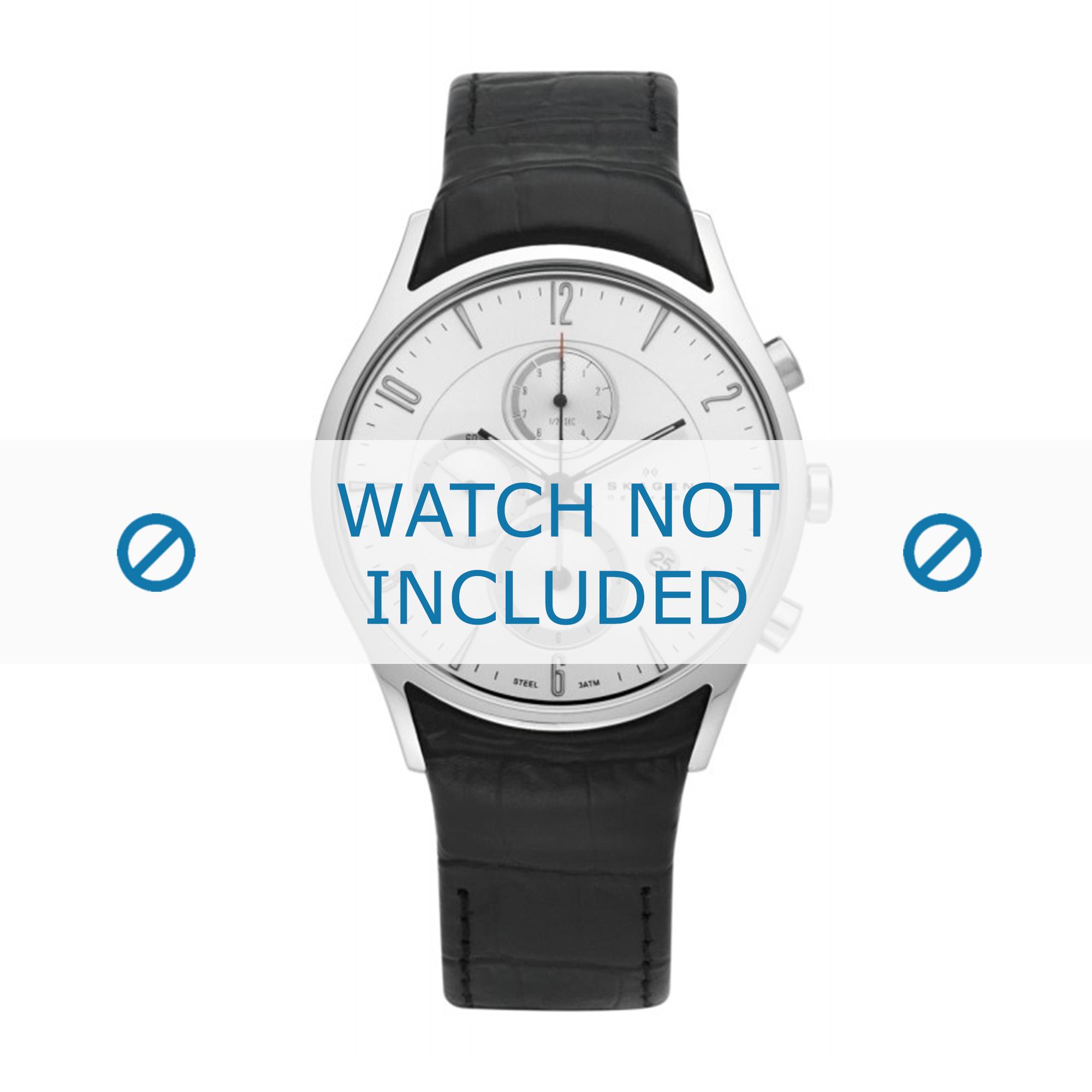 Skagen horlogeband 329XLSLB / 329XLSLC Leder Zwart + zwart stiksel