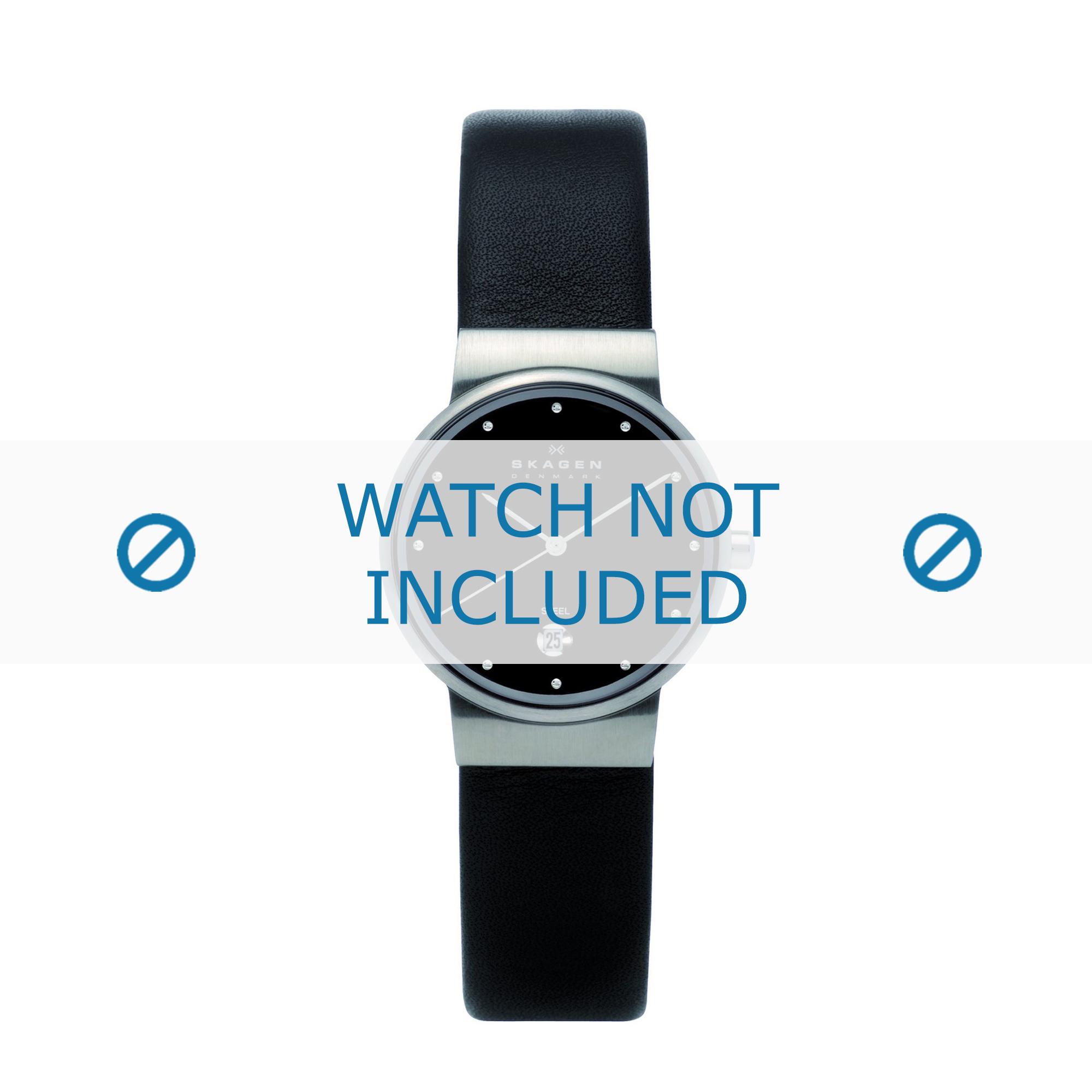 Skagen horlogeband 355SSLB Leder Zwart 14mm