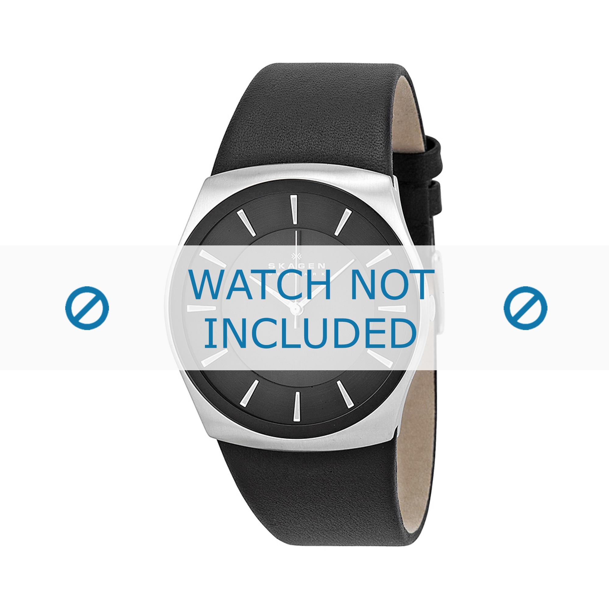 Skagen horlogeband SKW6017 Leder Zwart 30mm