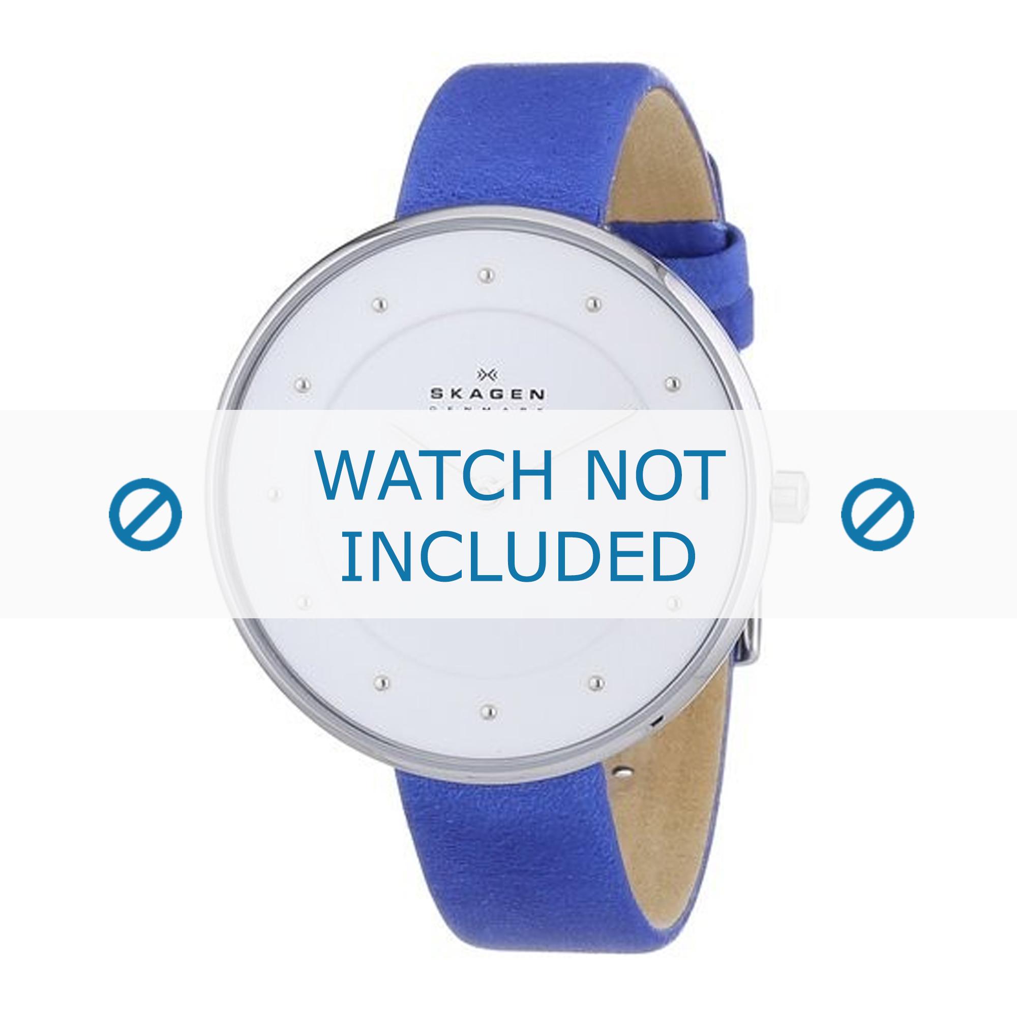 Skagen horlogeband SKW2172 Leder Blauw 14mm