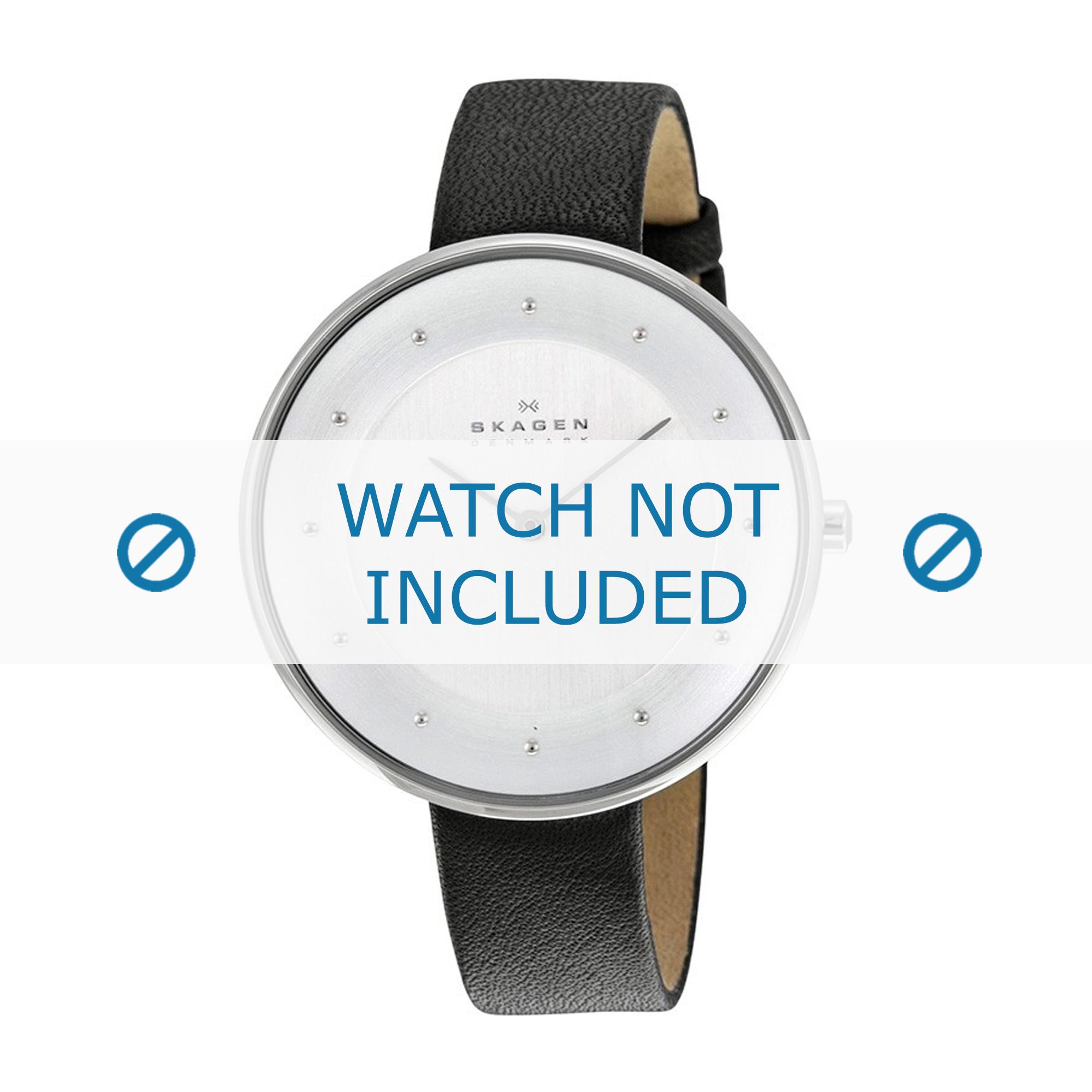 Skagen horlogeband SKW2232 Leder Zwart 14mm