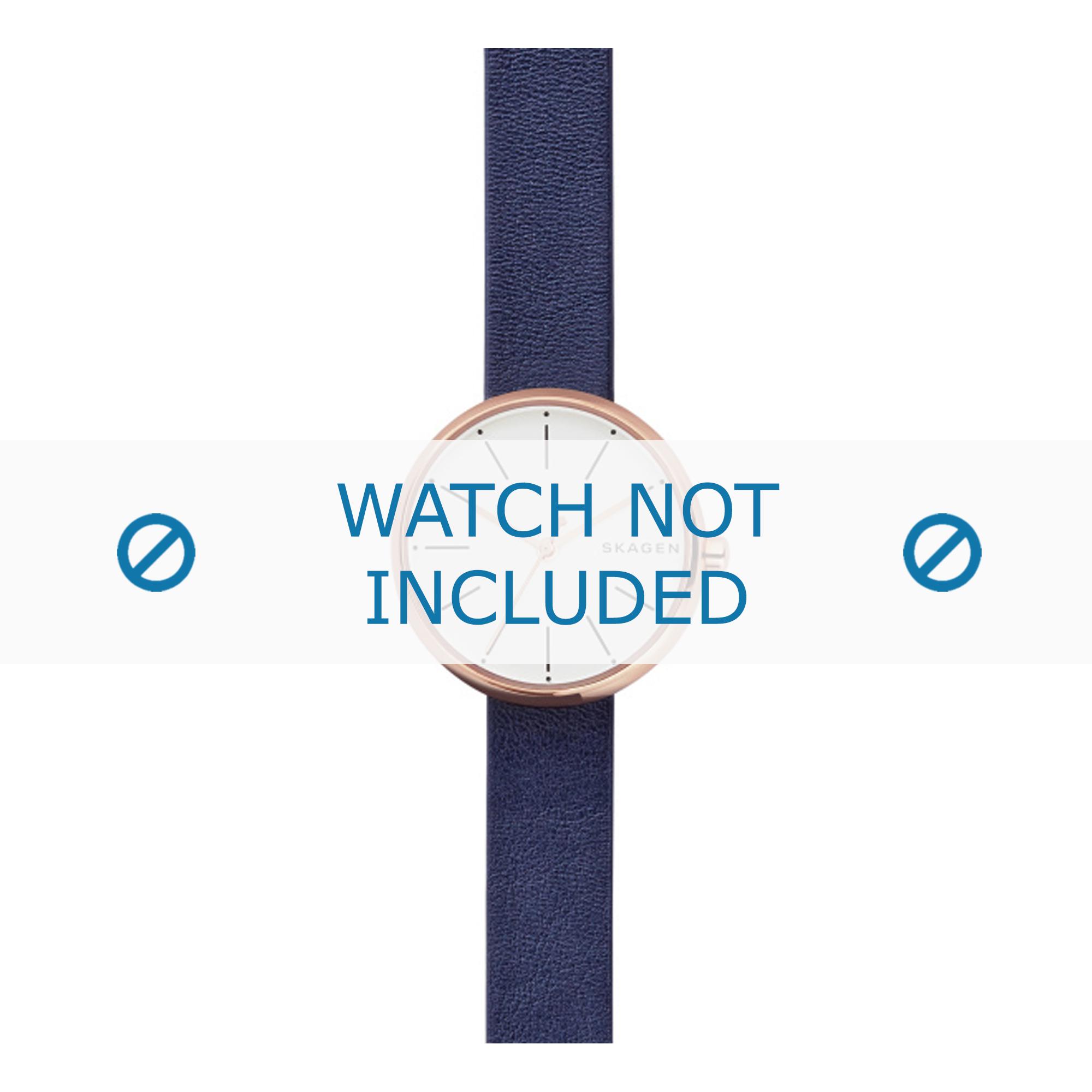 Skagen horlogeband SKW2592 Leder Blauw