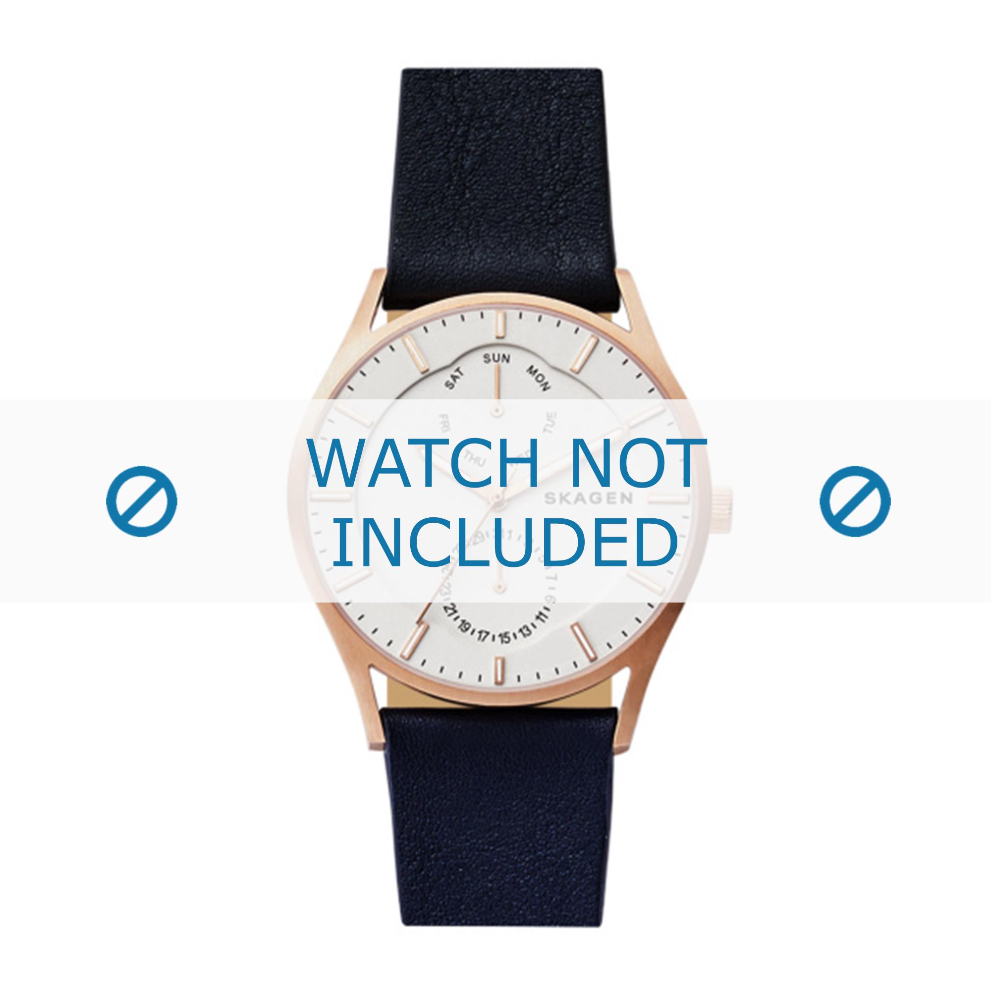 Skagen horlogeband SKW6372 Leder Zwart 22mm