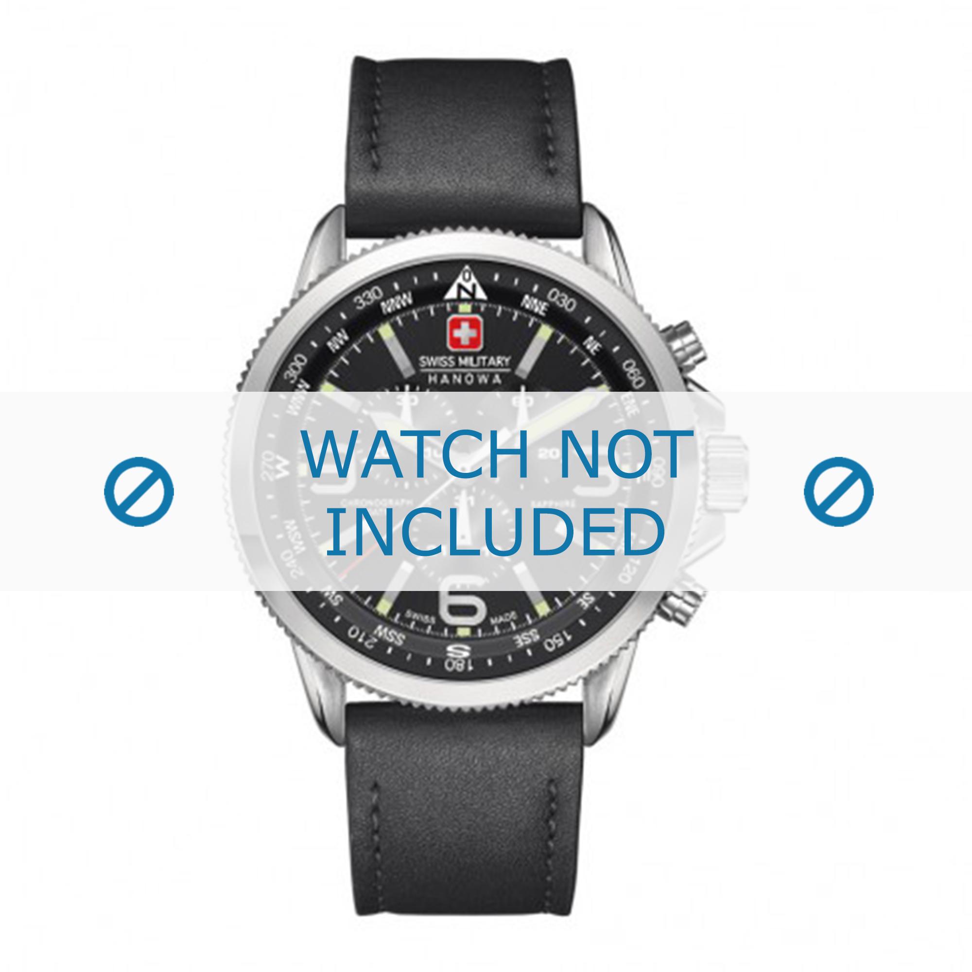 Swiss Military Hanowa horlogeband 06-4224.04.007 Leder Zwart 22mm + zwart stiksel