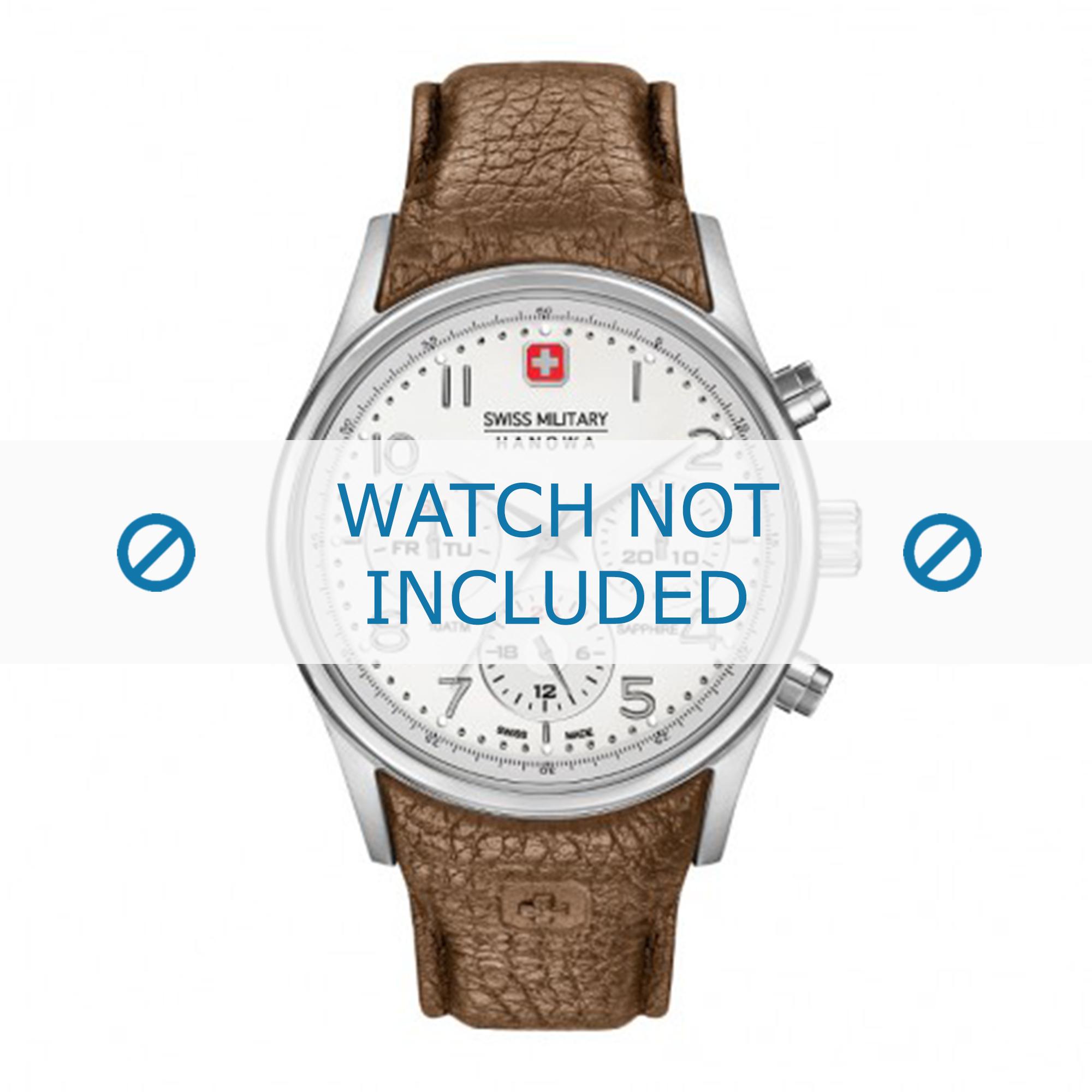 Swiss Military Hanowa horlogeband 06-4278.04.001.05 Leder Cream wit / Beige / Ivoor + standaard stiksel