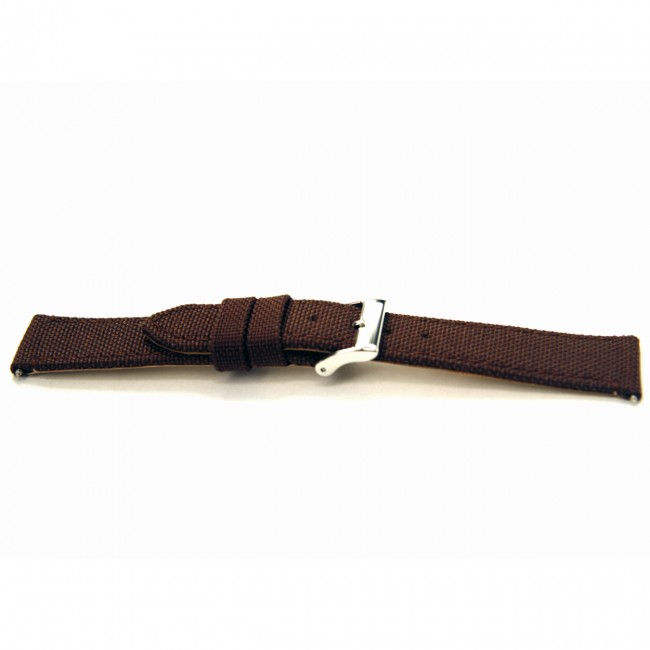 Canvas / leder horloge band bruin 20mm T-32