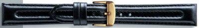 Echt leder horlogeband zwart 18mm PVK-057
