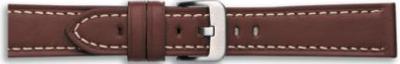 Kwaliteits lederen band bruin met wit stiksel 20mm PVK-628