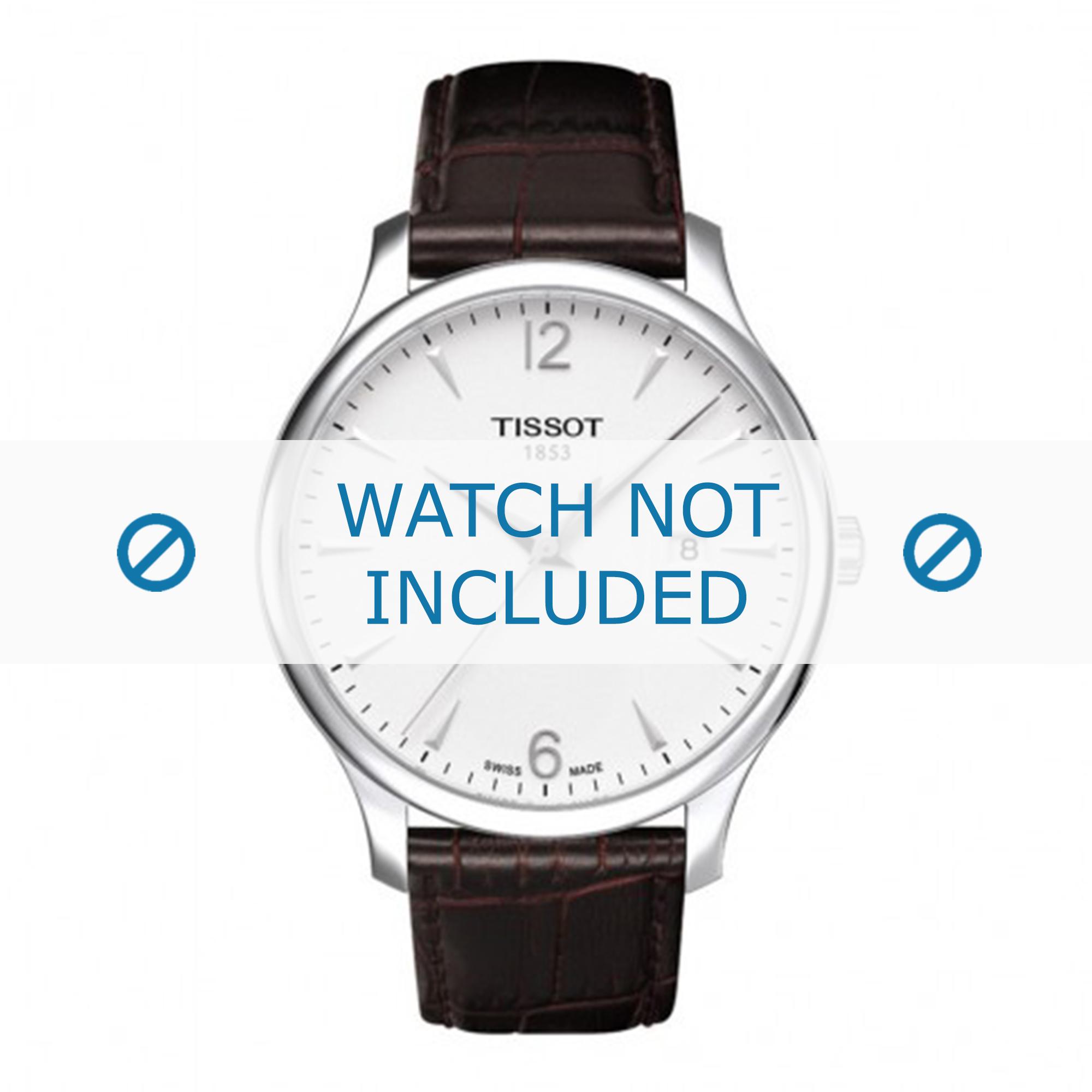 Tissot horlogeband T063.610.16.037.00 Leder Donkerbruin 20mm + bruin stiksel