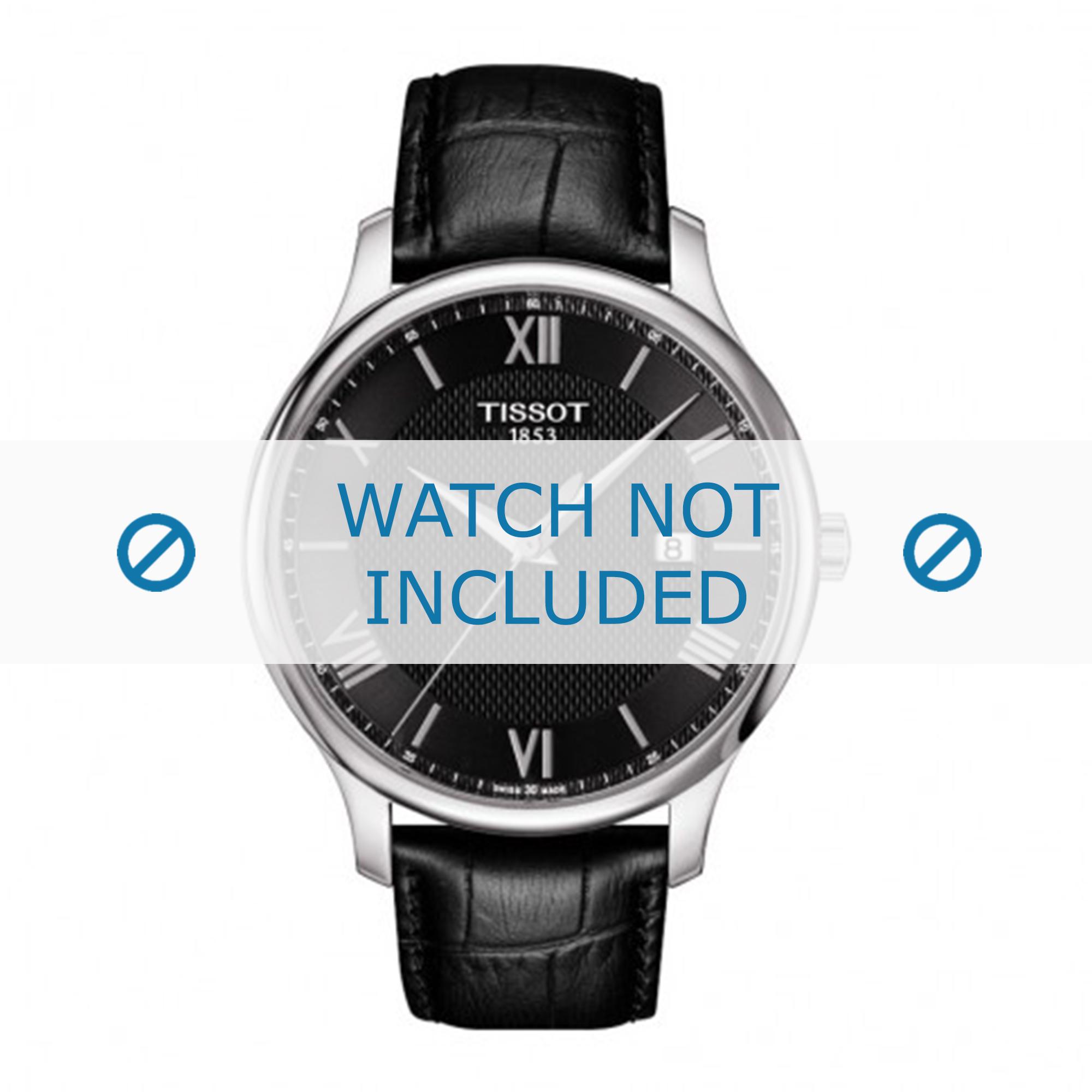 Tissot horlogeband T063.610.16.058.00 Leder Zwart 20mm + zwart stiksel