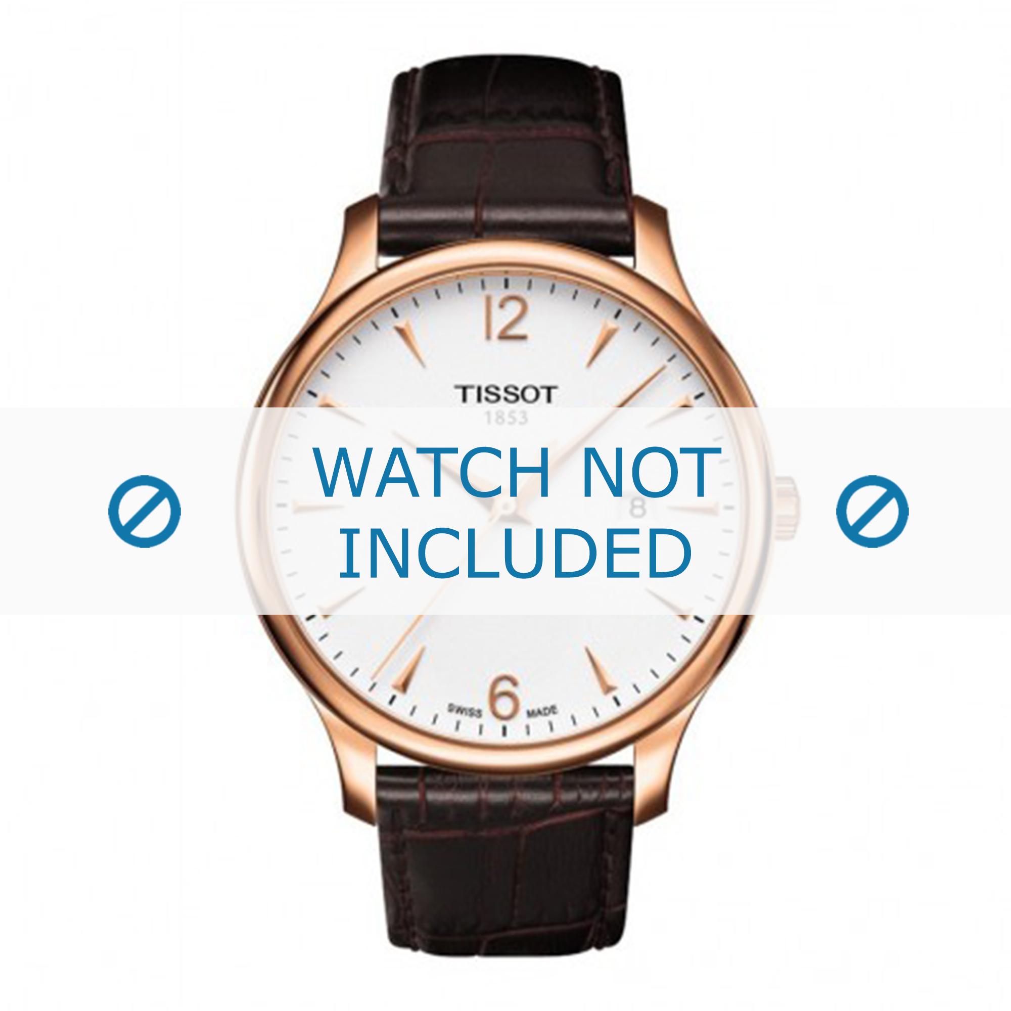 Tissot horlogeband T063.610.36.037.00 Leder Donkerbruin 20mm + bruin stiksel