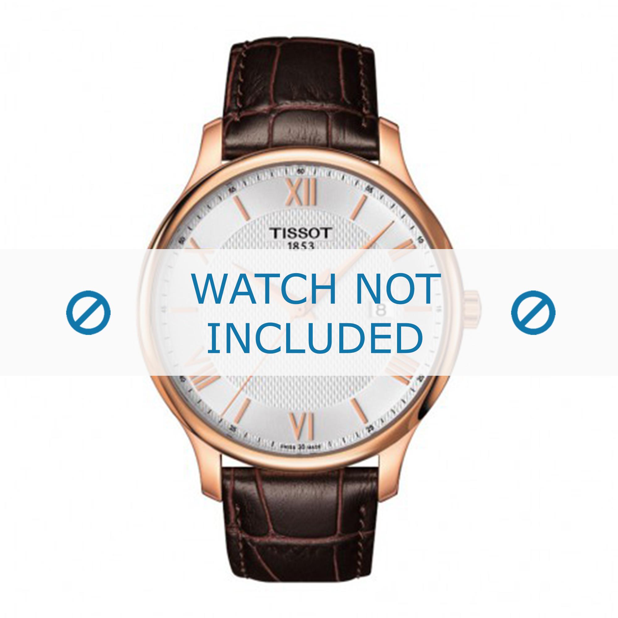 Tissot horlogeband T063.610.36.038.00 Leder Donkerbruin 20mm + bruin stiksel