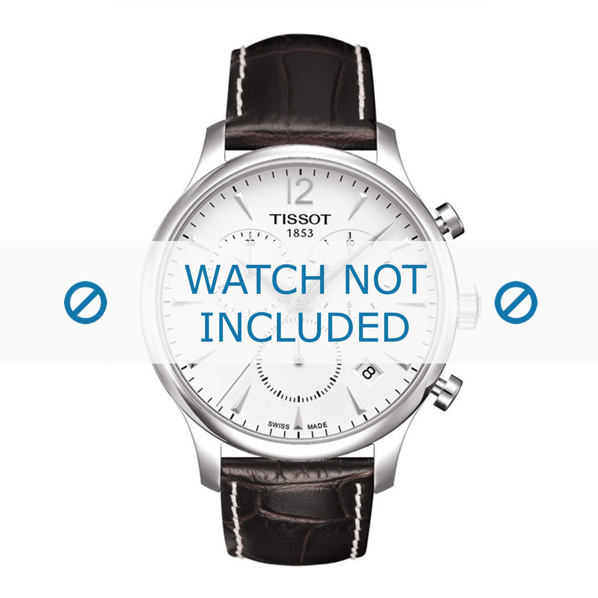 Tissot horlogeband T063.617.16.037.00 T610031126-T610031126 Croco leder Bruin 20mm + wit stiksel