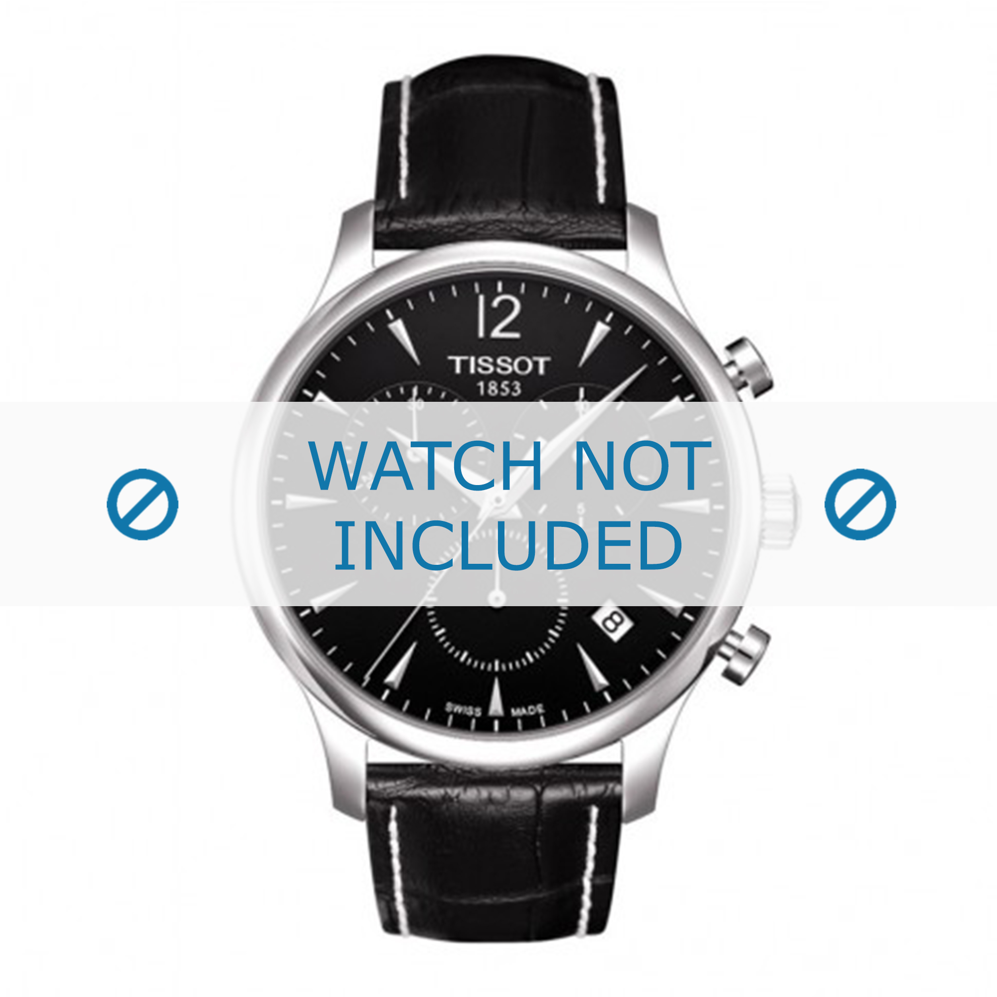 Tissot horlogeband T063.617.16.057.00 Leder Zwart 20mm + wit stiksel