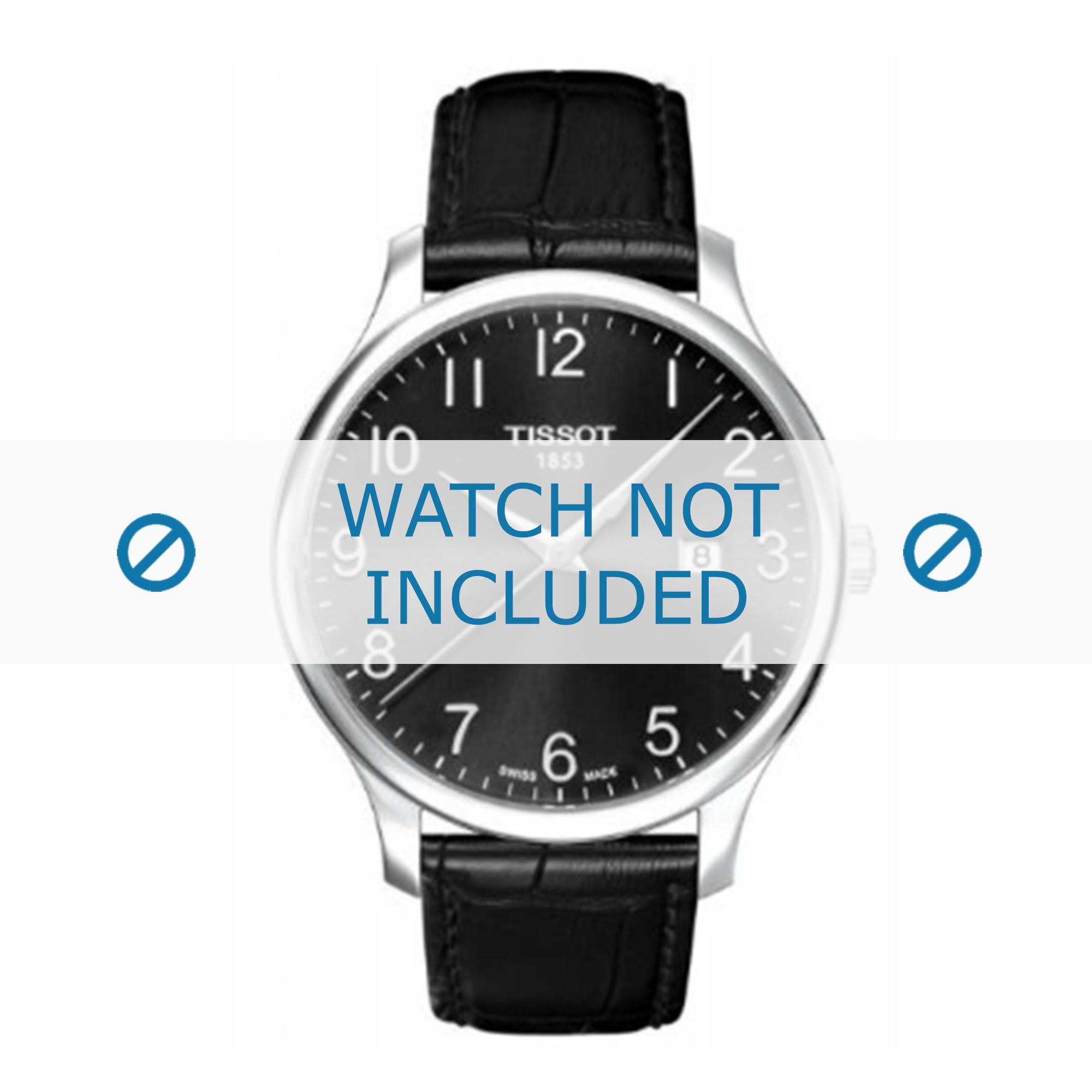 Tissot horlogeband T063.617.A T610031949 Leder Zwart 20mm