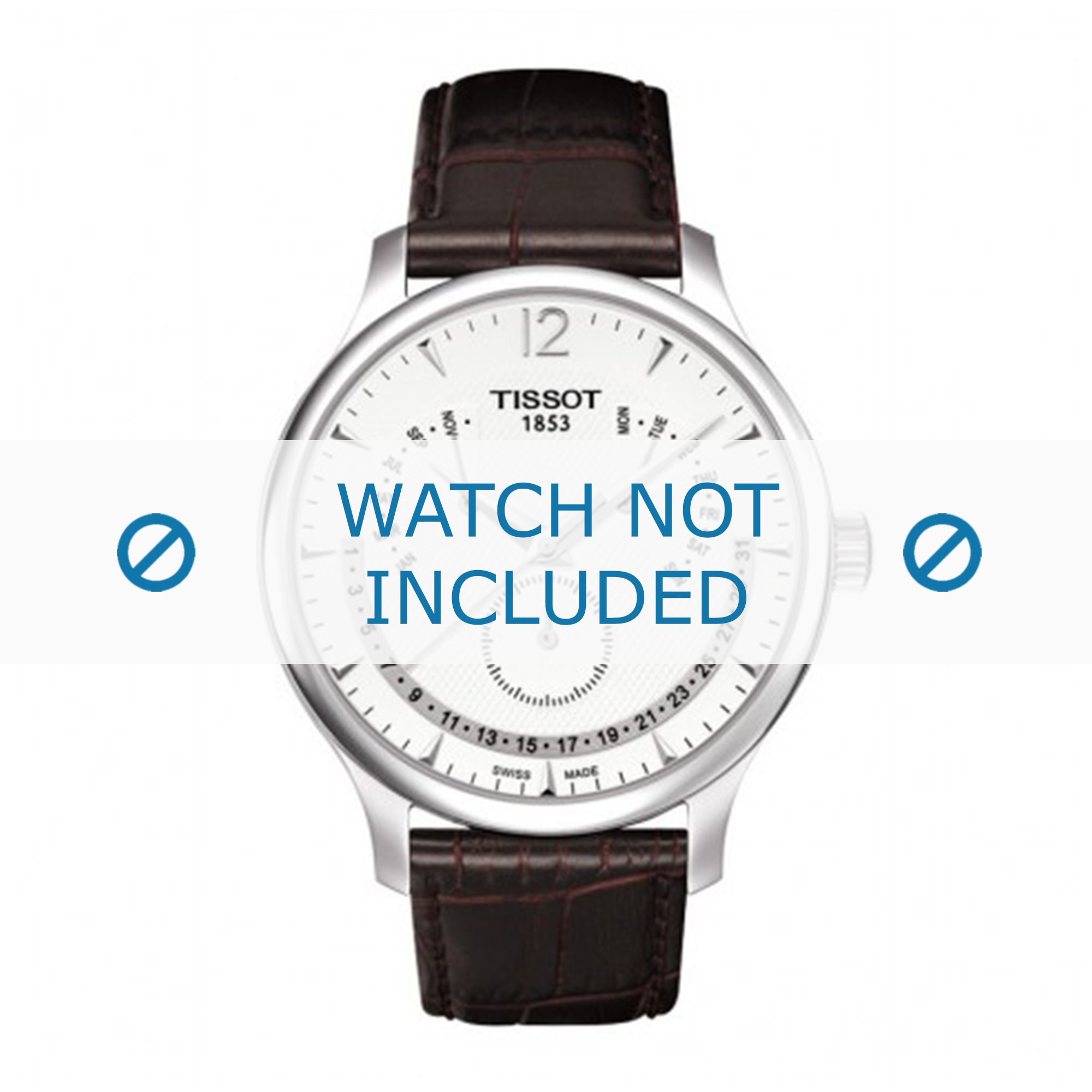 Tissot horlogeband T063.637.16.037.00 Leder Donkerbruin 20mm + bruin stiksel