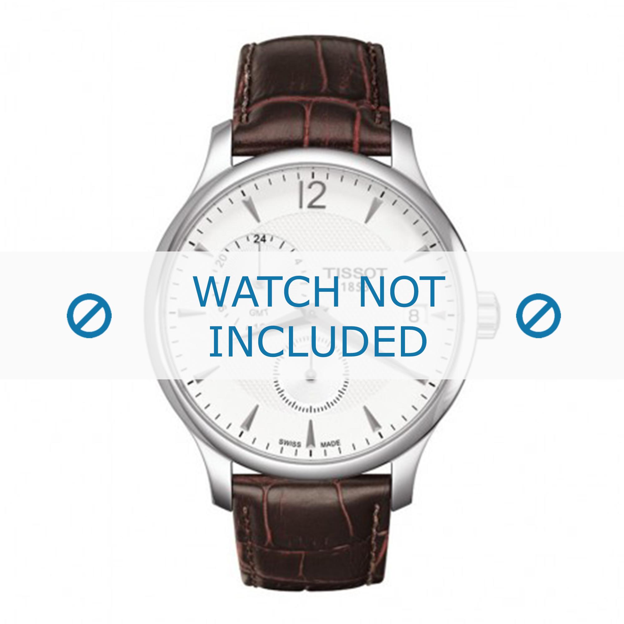 Tissot horlogeband T063.639.16.037.00 Leder Donkerbruin 20mm + bruin stiksel