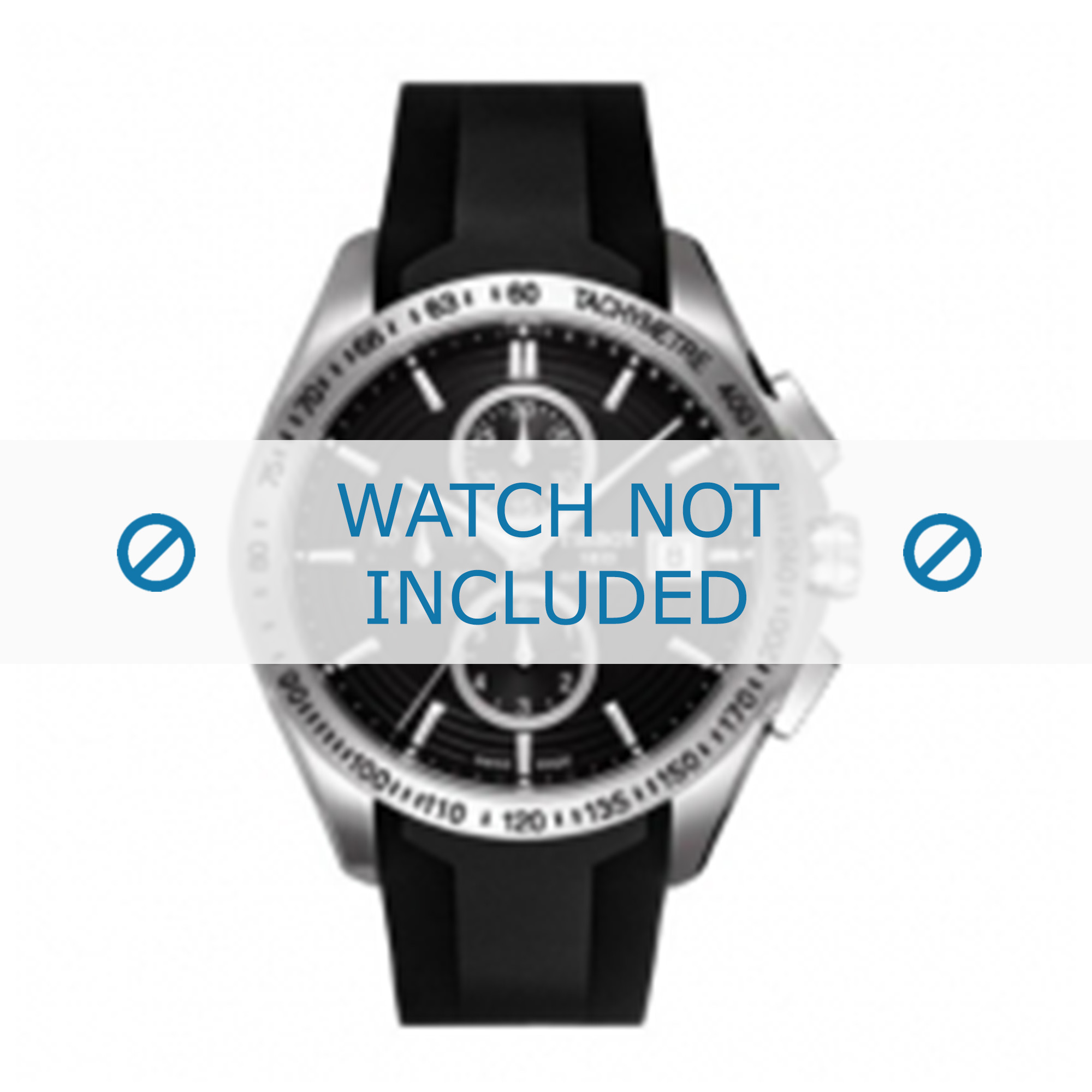 Tissot horlogeband T024.417.A - T610028918 Rubber Zwart 22mm