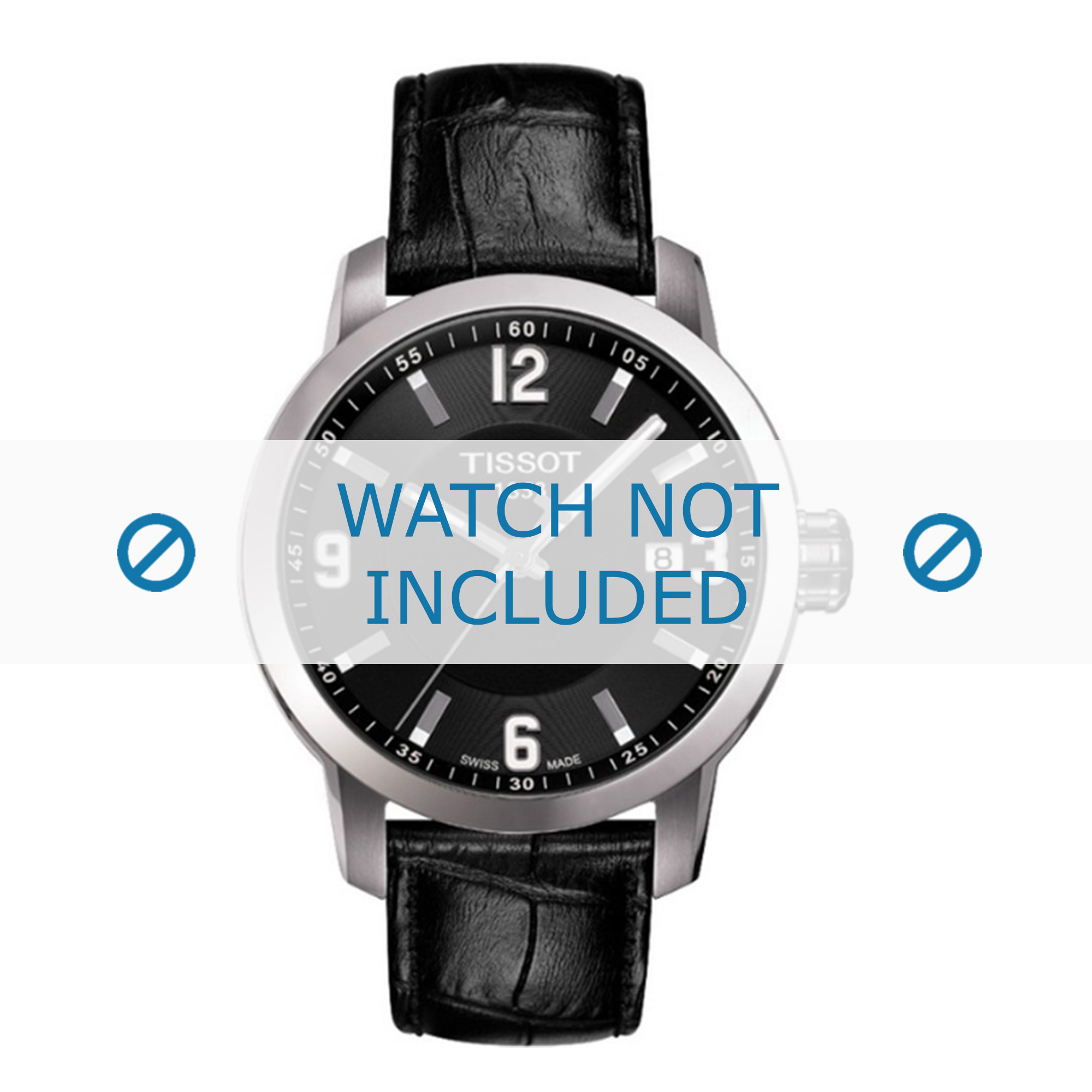 Tissot horlogeband T055.417.A PRC 200 T610032709 Croco leder Zwart 19mm