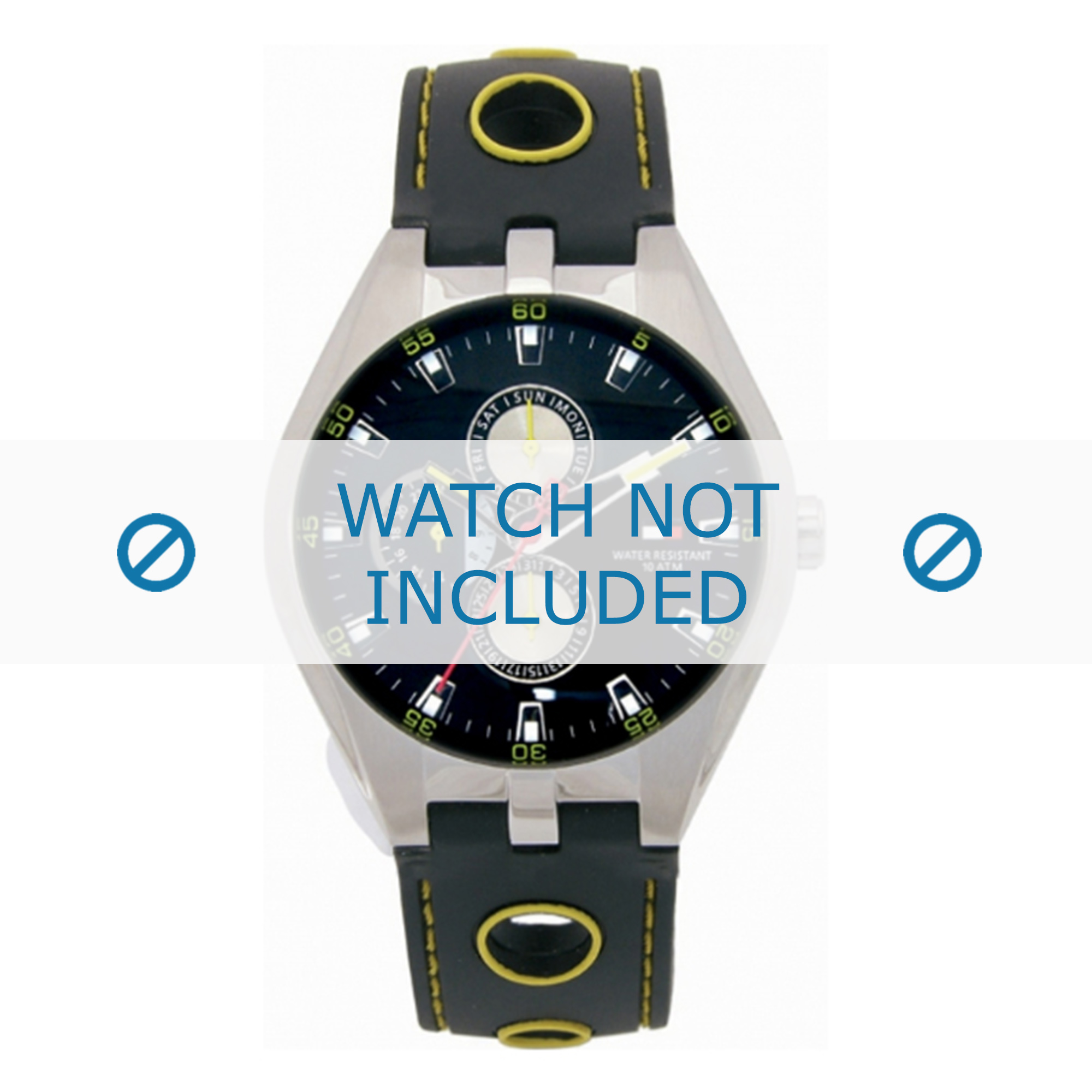 Tommy Hilfiger horlogeband TH-37-3-14-0684 - TH679300910 / 1790620 Rubber Zwart 16mm + geel stiksel