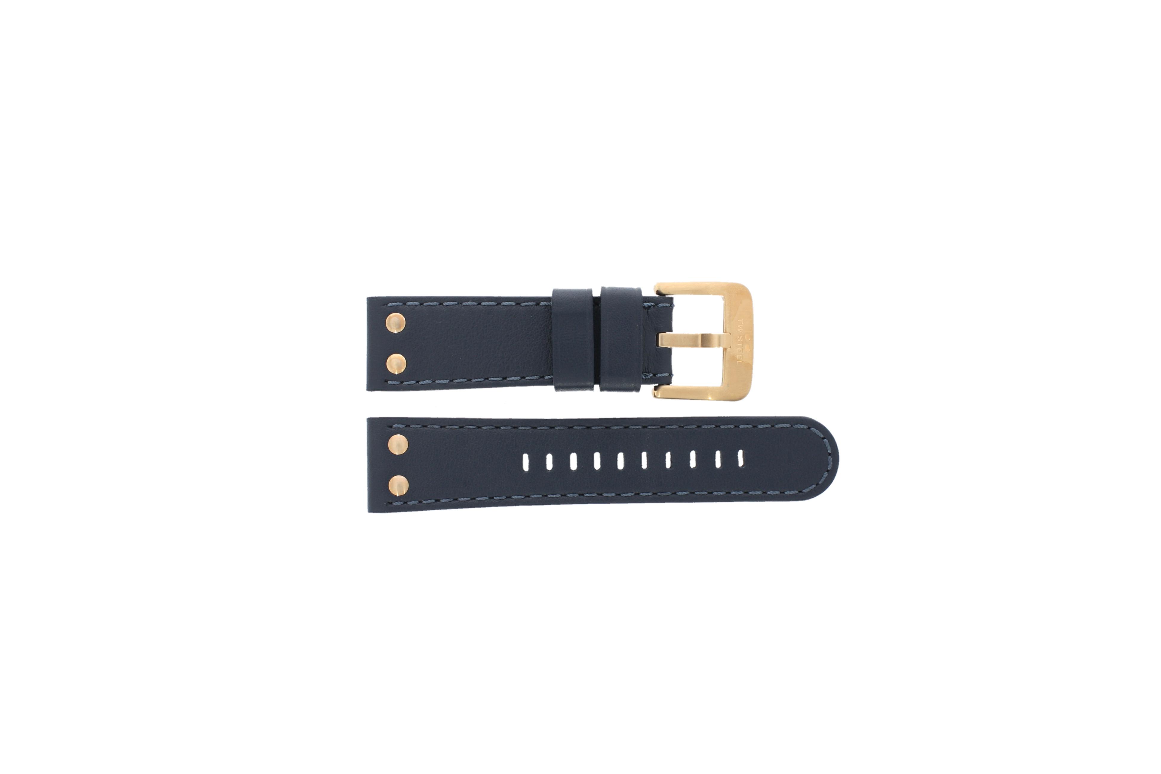 TW Steel horlogeband TWB404-405 Leder Blauw 24mm + blauw stiksel