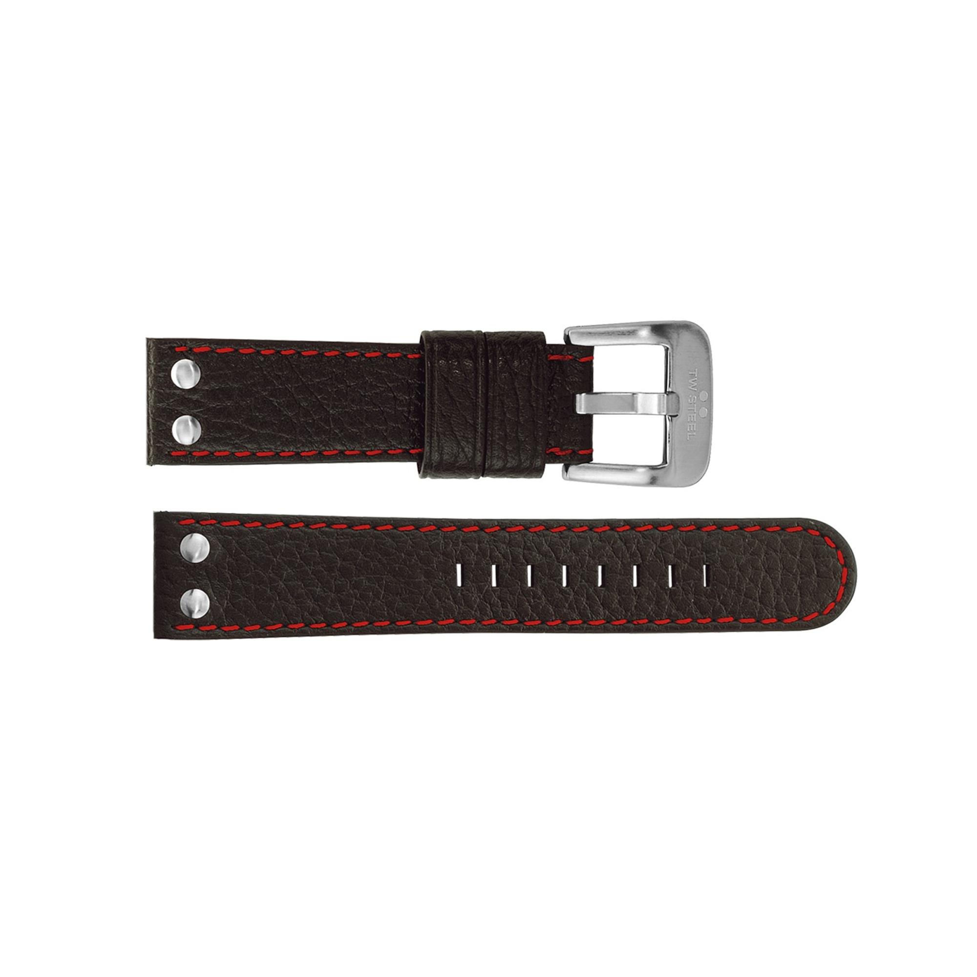 TW Steel horlogeband TWB28 Leder Zwart 22mm + rood stiksel