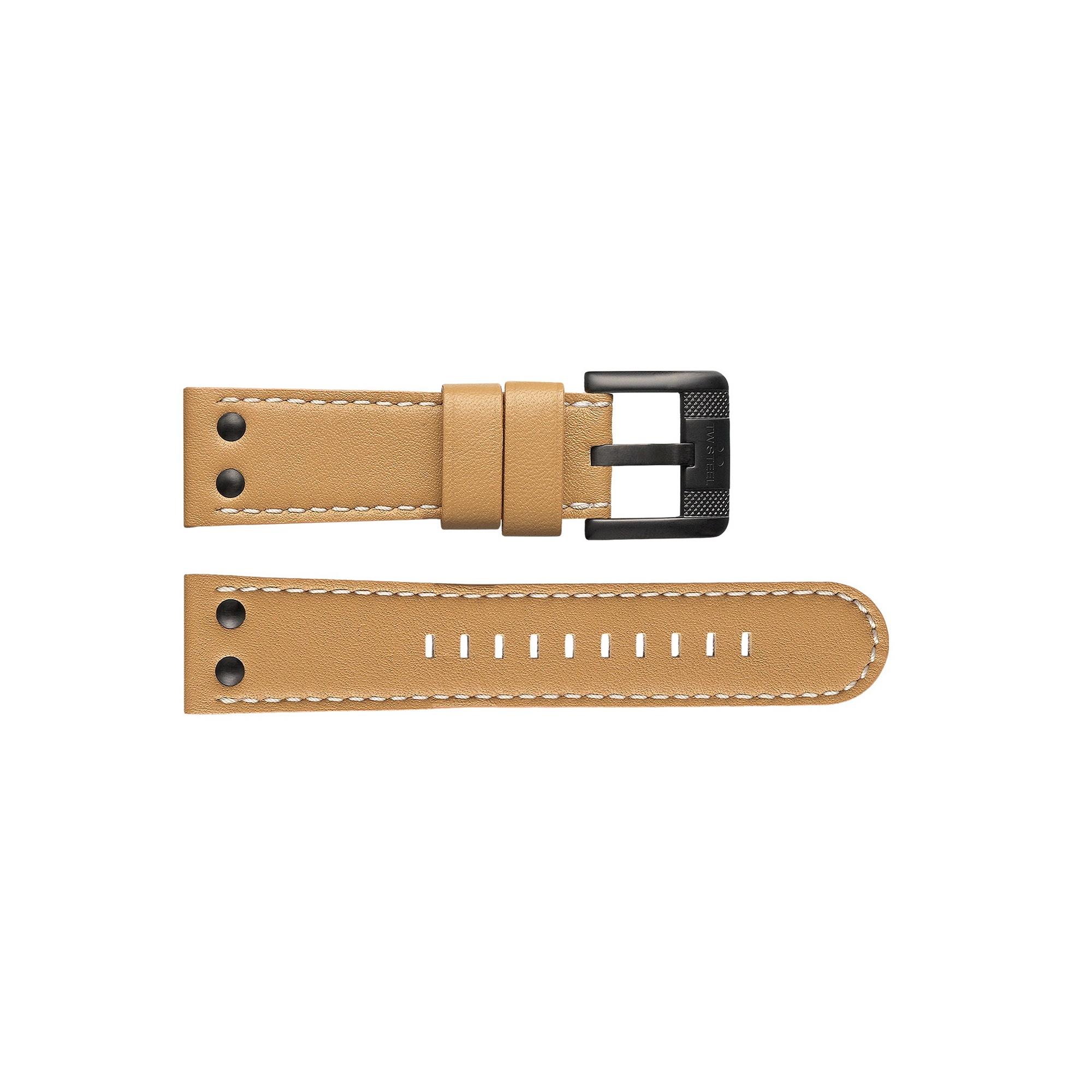 TW Steel horlogeband TWB66 Leder Beige 24mm + wit stiksel