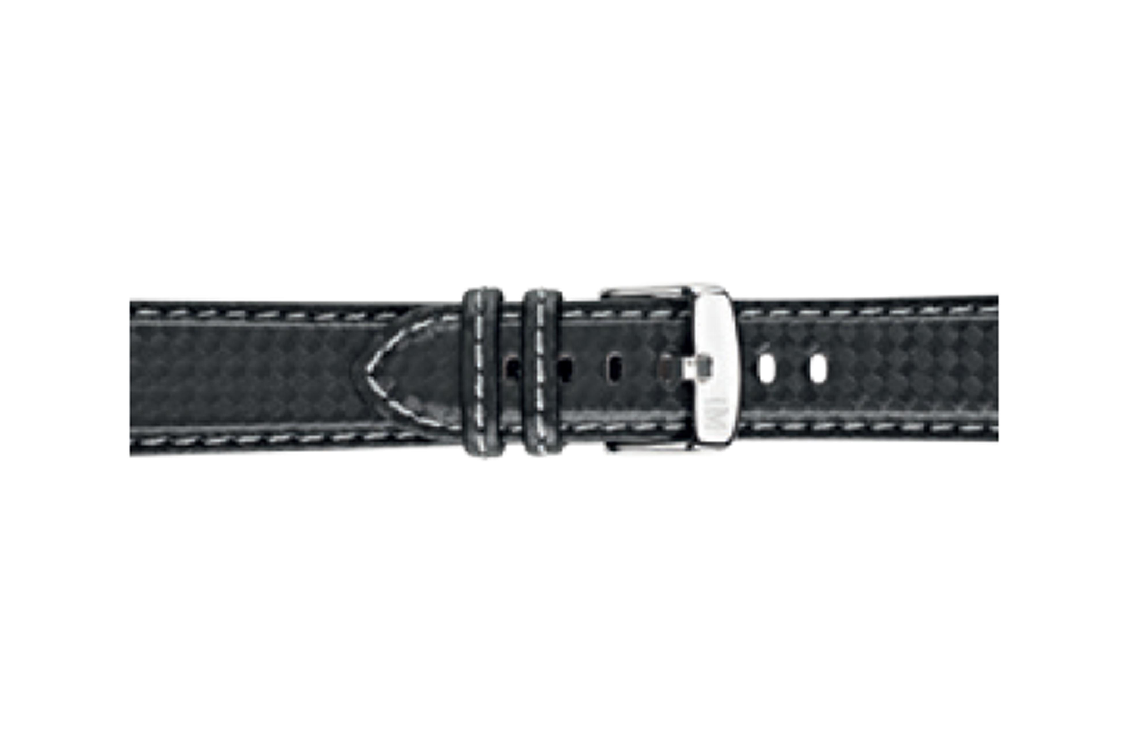 Morellato horlogeband Biking U3586977891CR24 / PMU891BIKING24 Carbon Zwart 24mm + grijs stiksel
