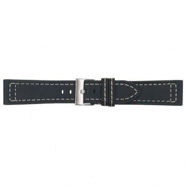 Horlogeband donker blauw leder 22mm 423