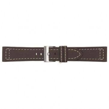 Horlogeband donker bruin leder 24mm 423