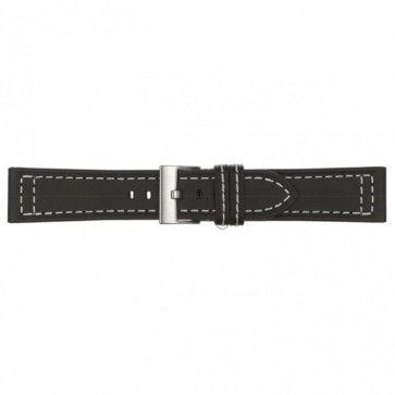 Horlogeband zwart leder 24mm 423